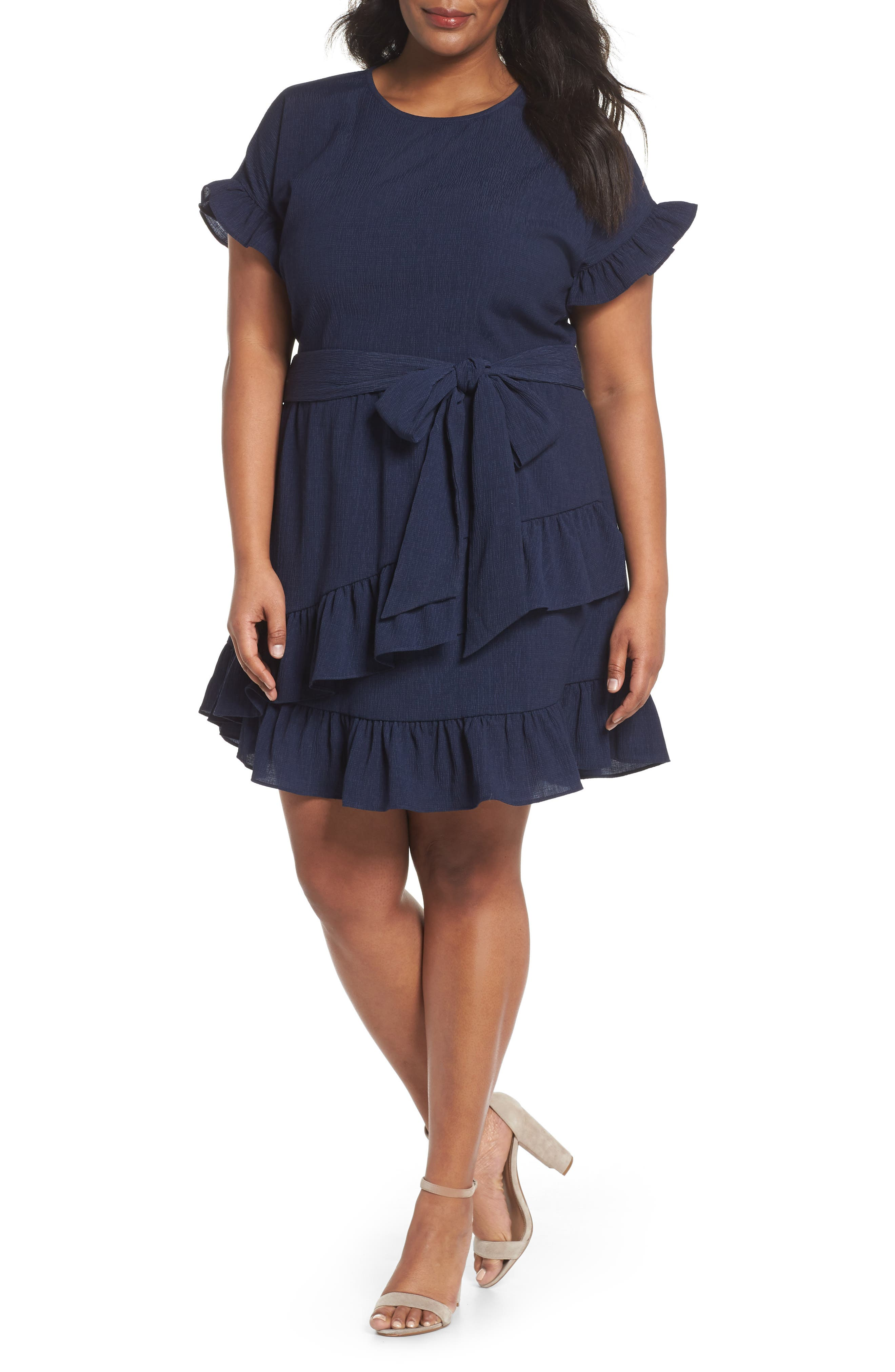 MICHAEL Michael Kors Faux Wrap Jersey Dress (Plus Size)