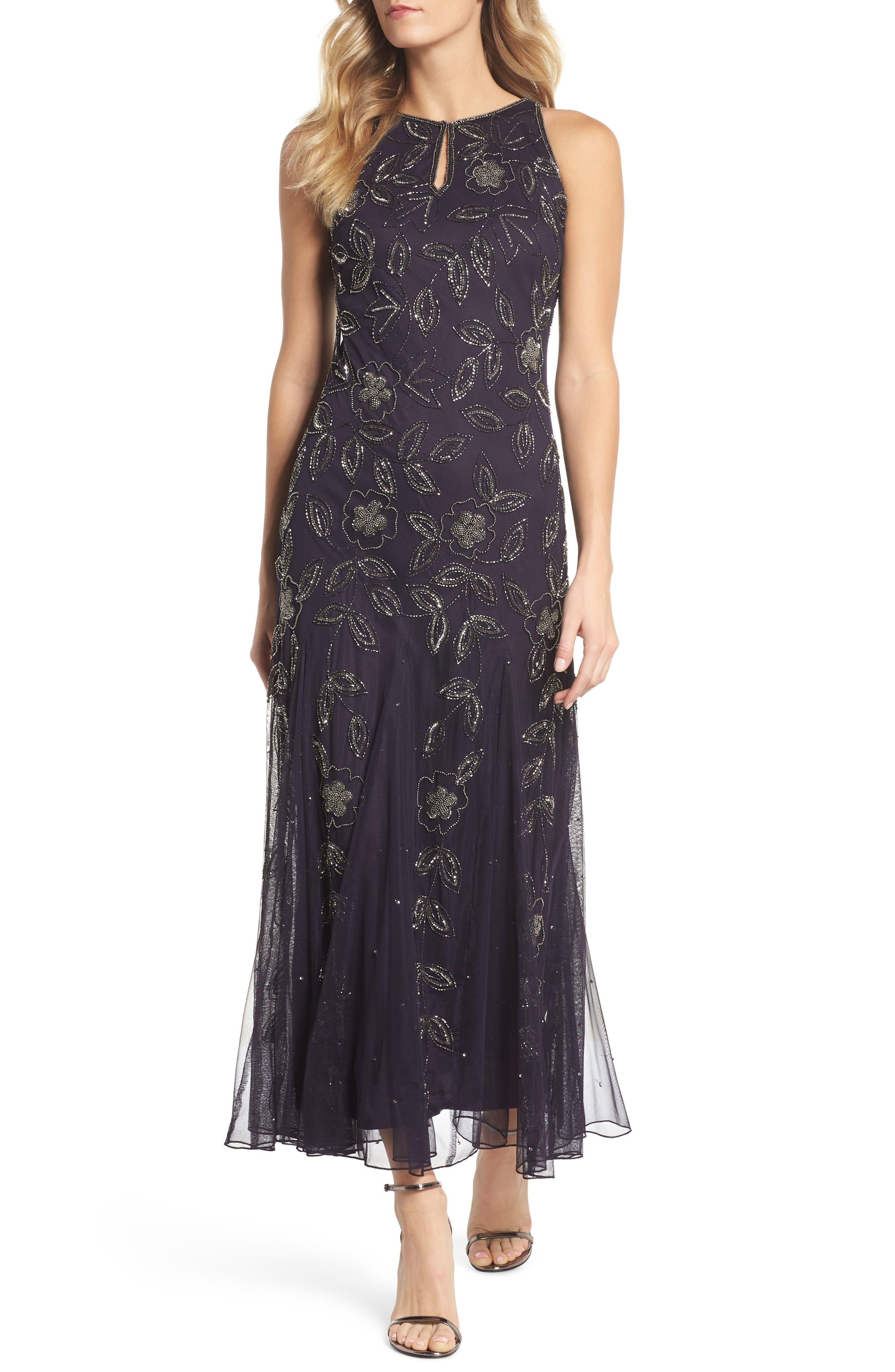 Pisarro Nights Beaded Godet Gown