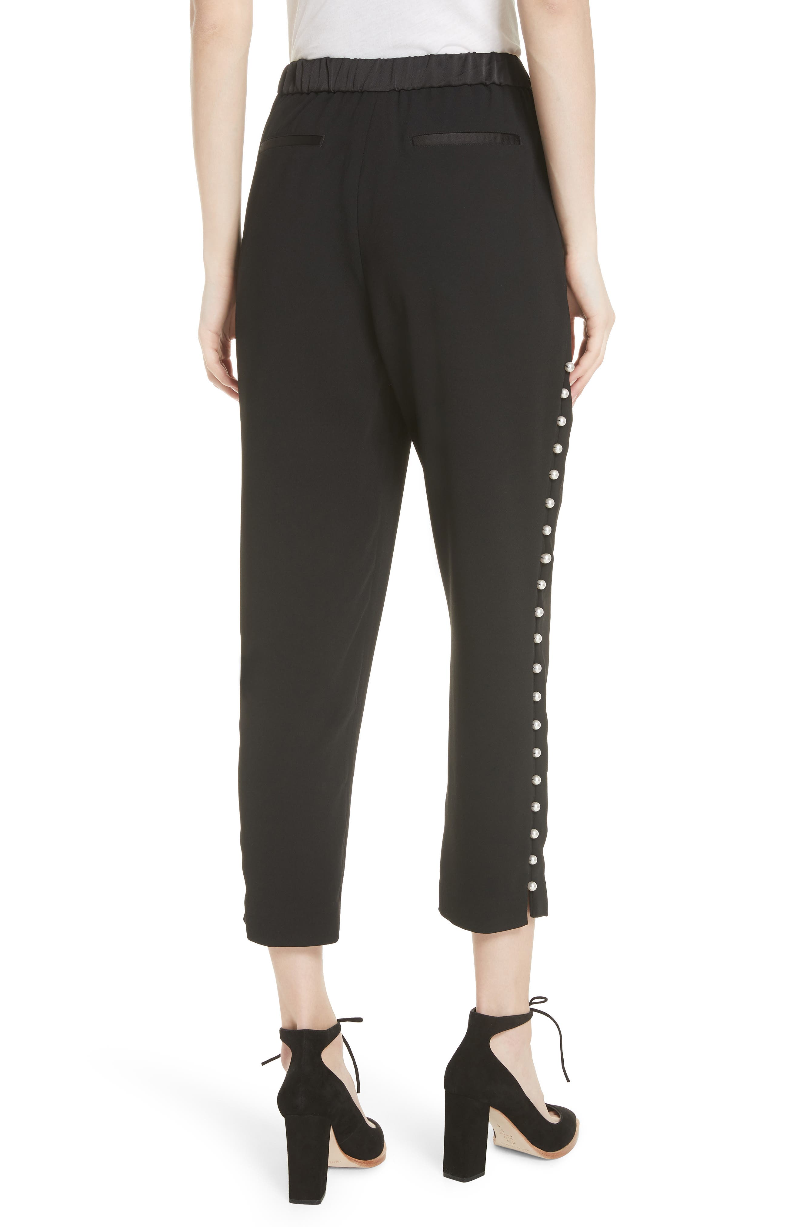 Button Trim Jogger Pants,                             Alternate thumbnail 2, color,                             Black