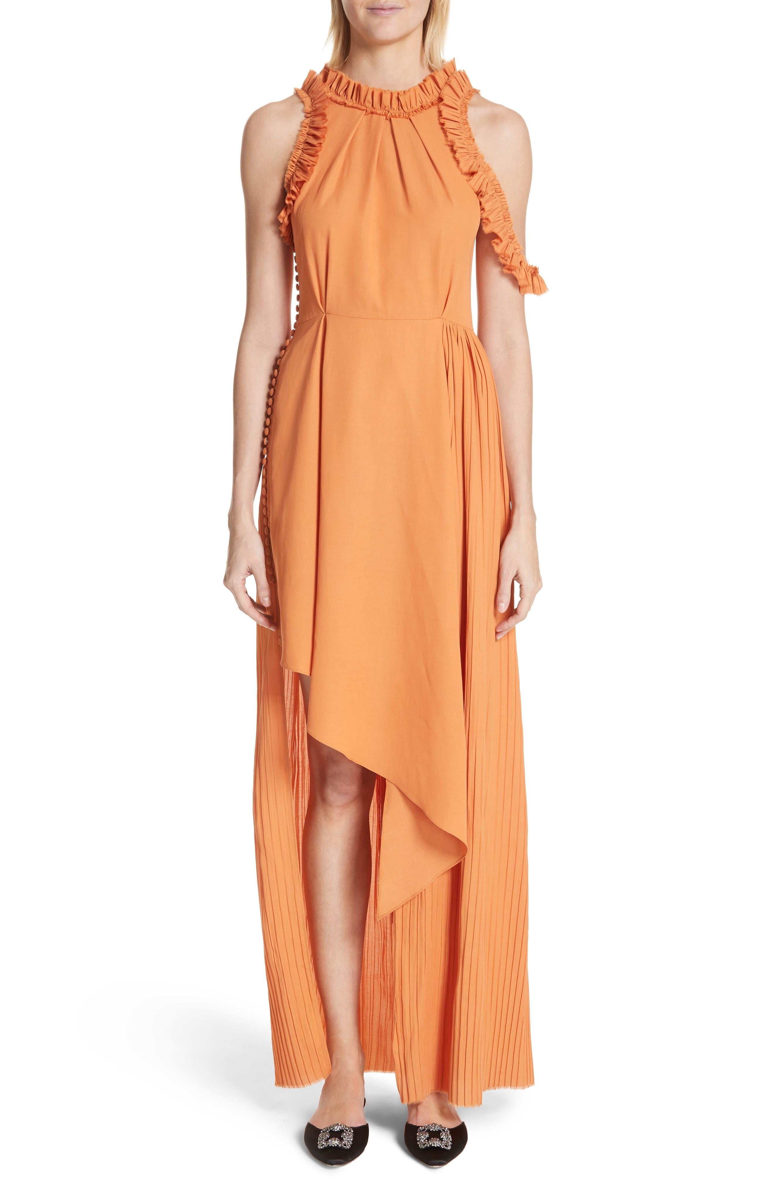 Asymmetrical Ruffle Trim Silk Blend Dress,                         Main,                         color, Orange