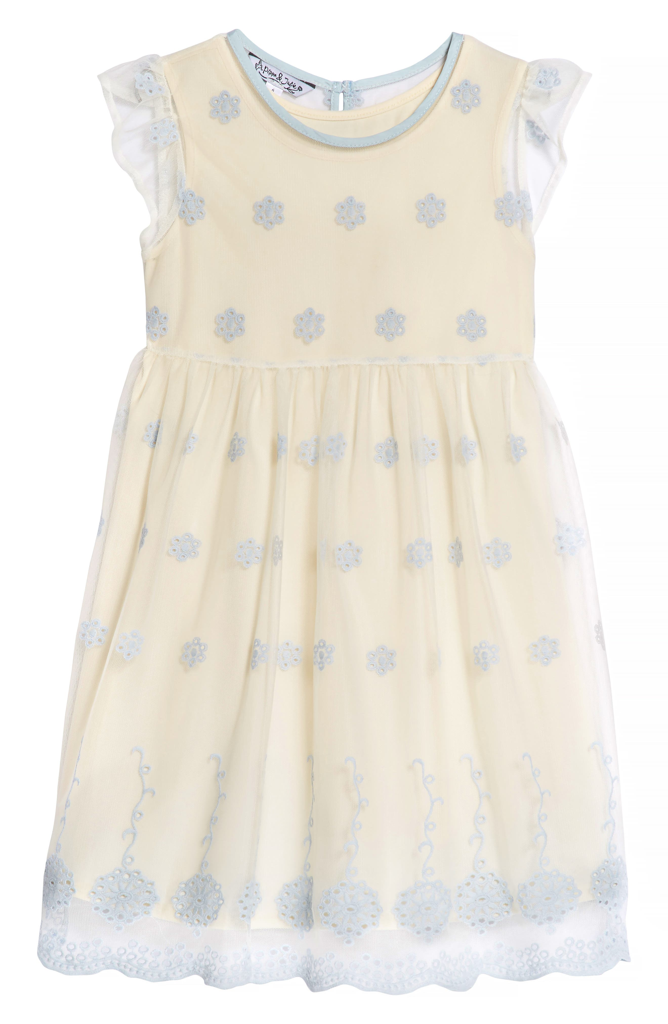 Embroidered Mesh Dress,                         Main,                         color, Ivory/ Blue