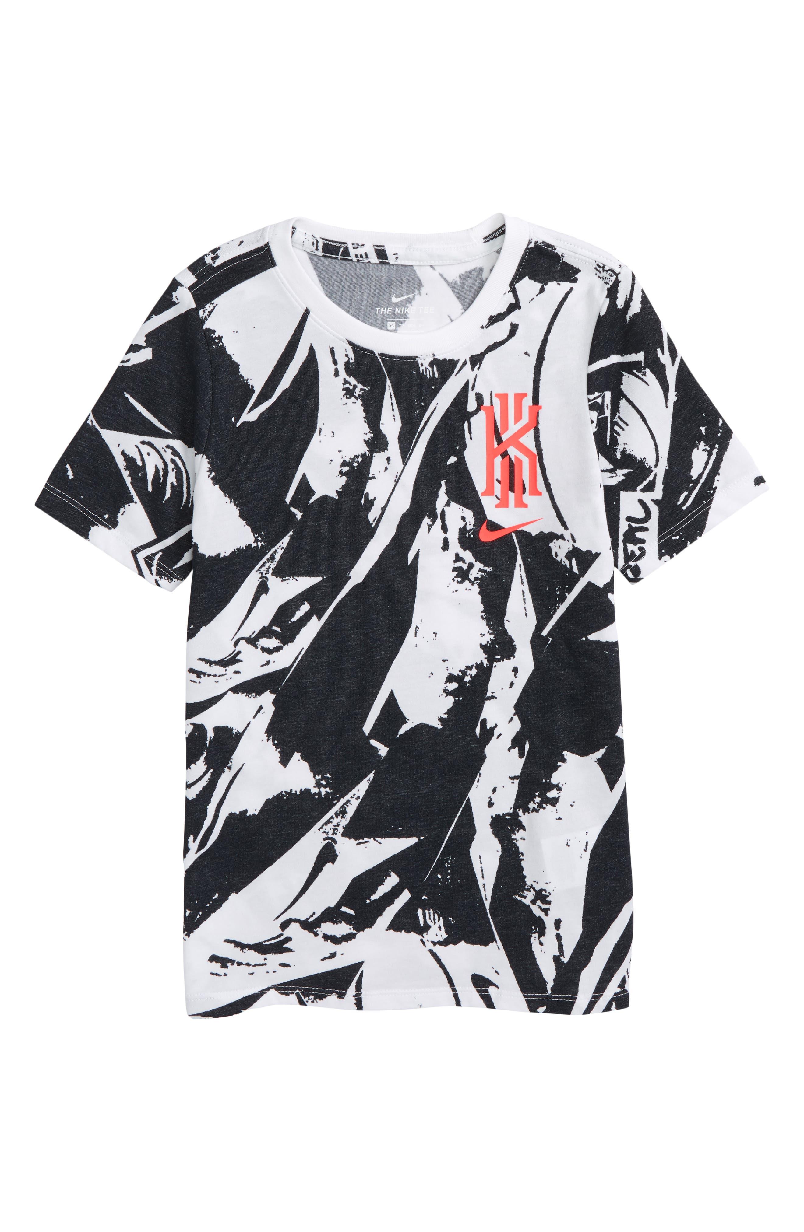 Dry Kyrie Graphic T-Shirt,                             Main thumbnail 1, color,                             White/ Black