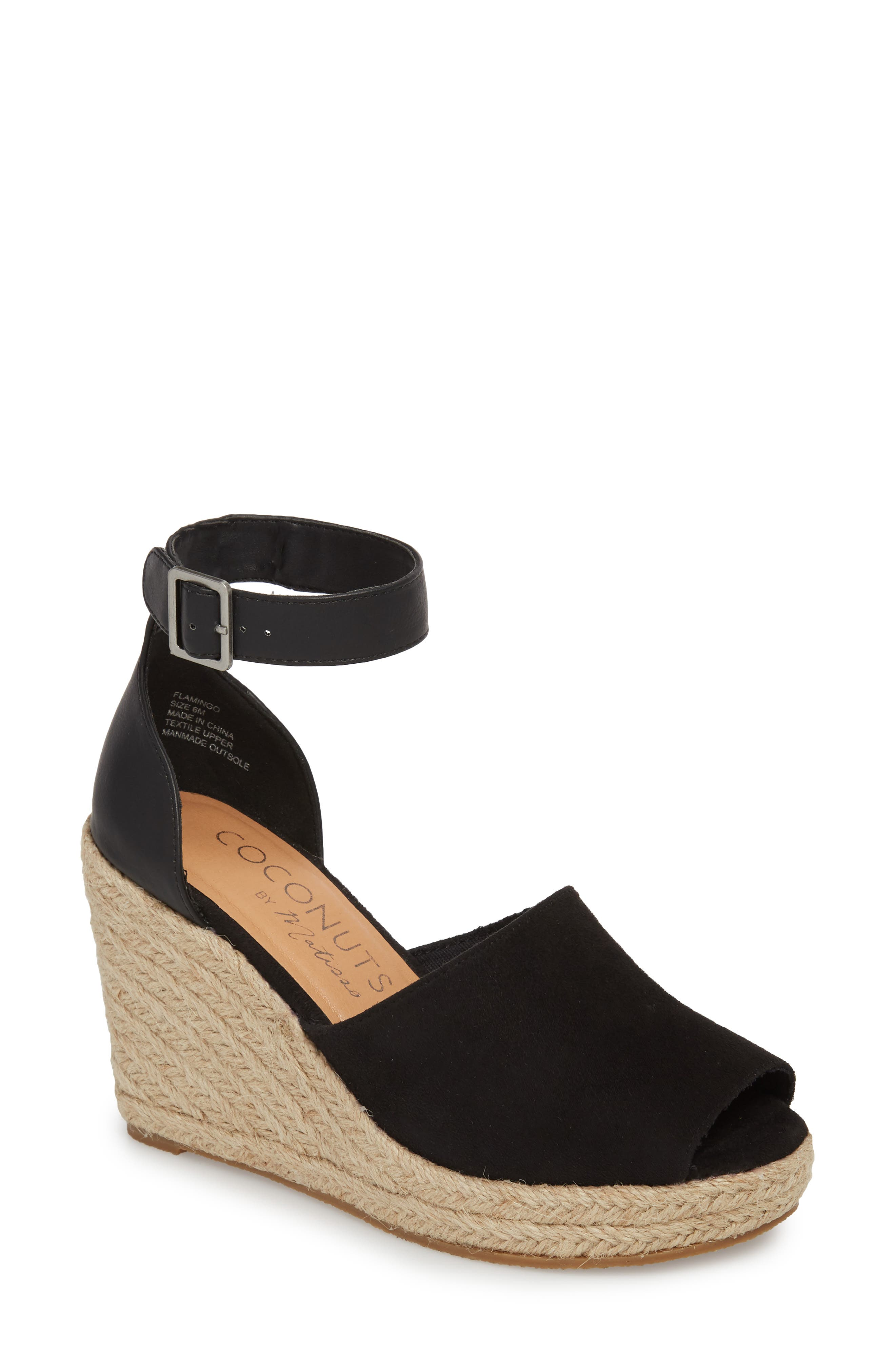 Flamingo Wedge Sandal,                             Main thumbnail 1, color,                             Black Suede