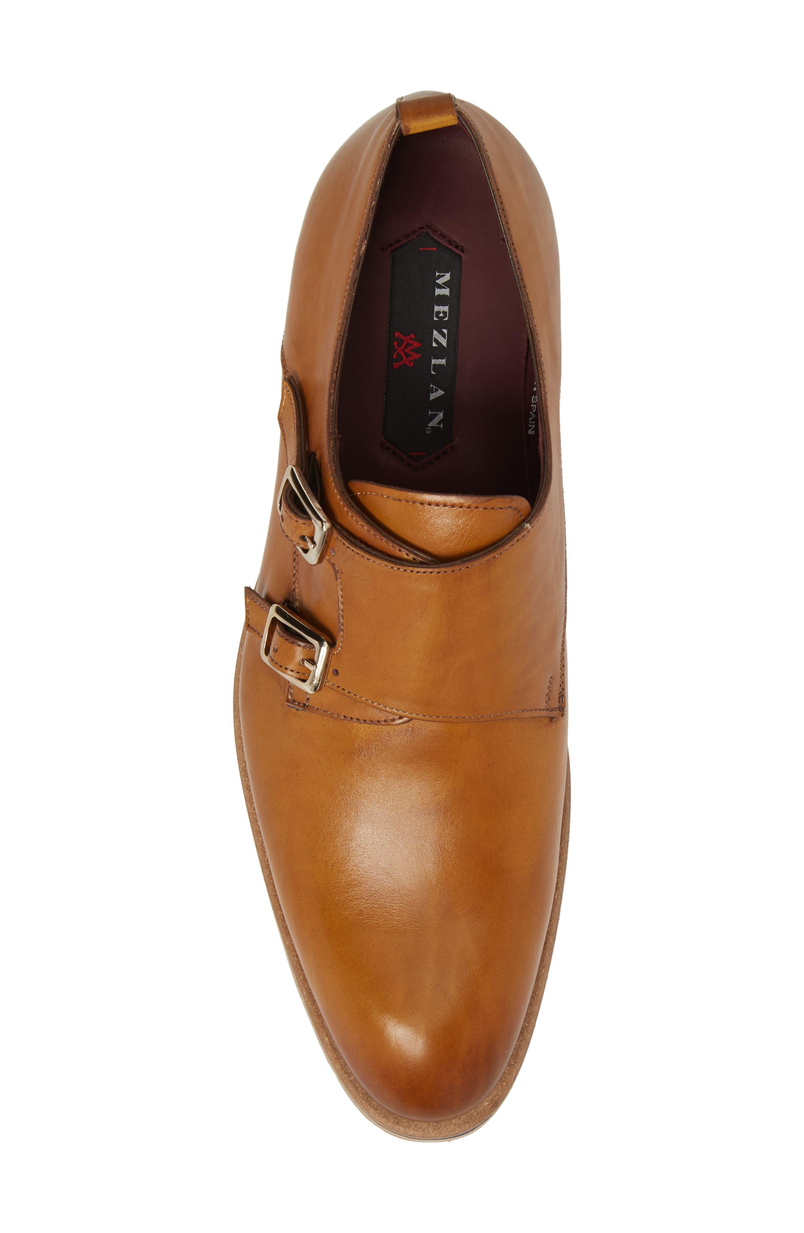 Apolo Double Buckle Monk Shoe,                             Alternate thumbnail 5, color,                             Honey Leather