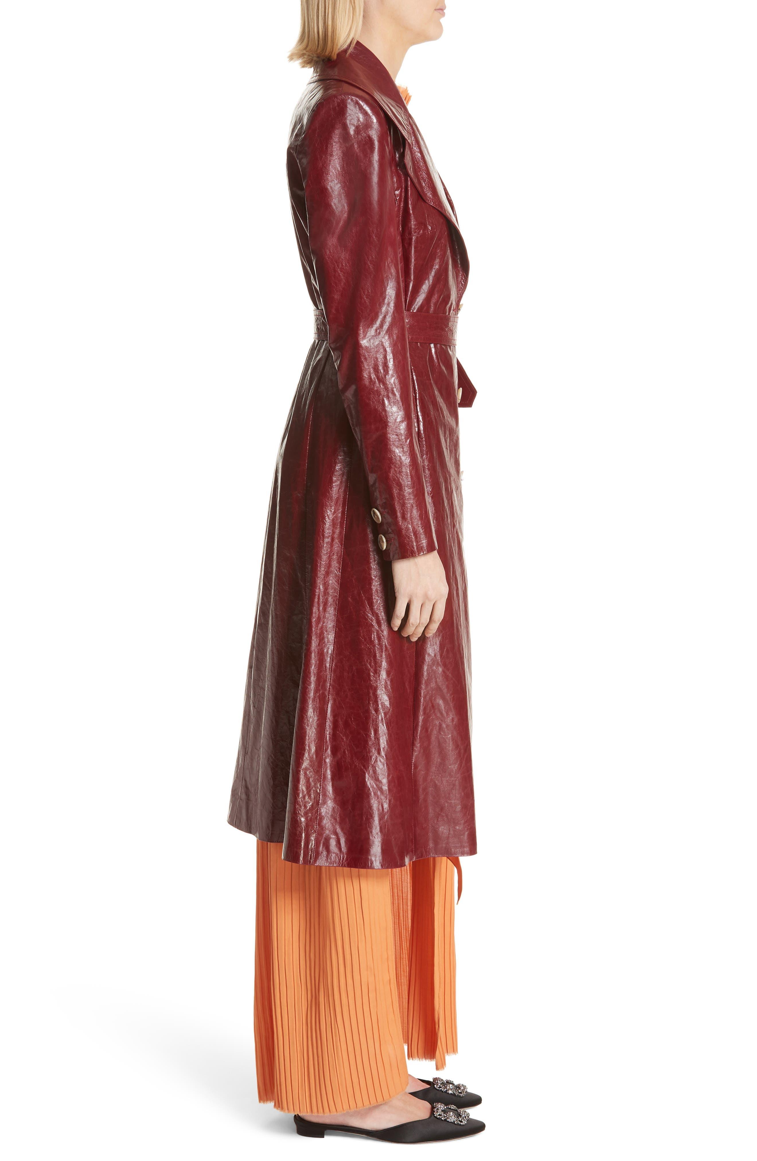 Leather Trench Coat,                             Alternate thumbnail 3, color,                             Bordeaux