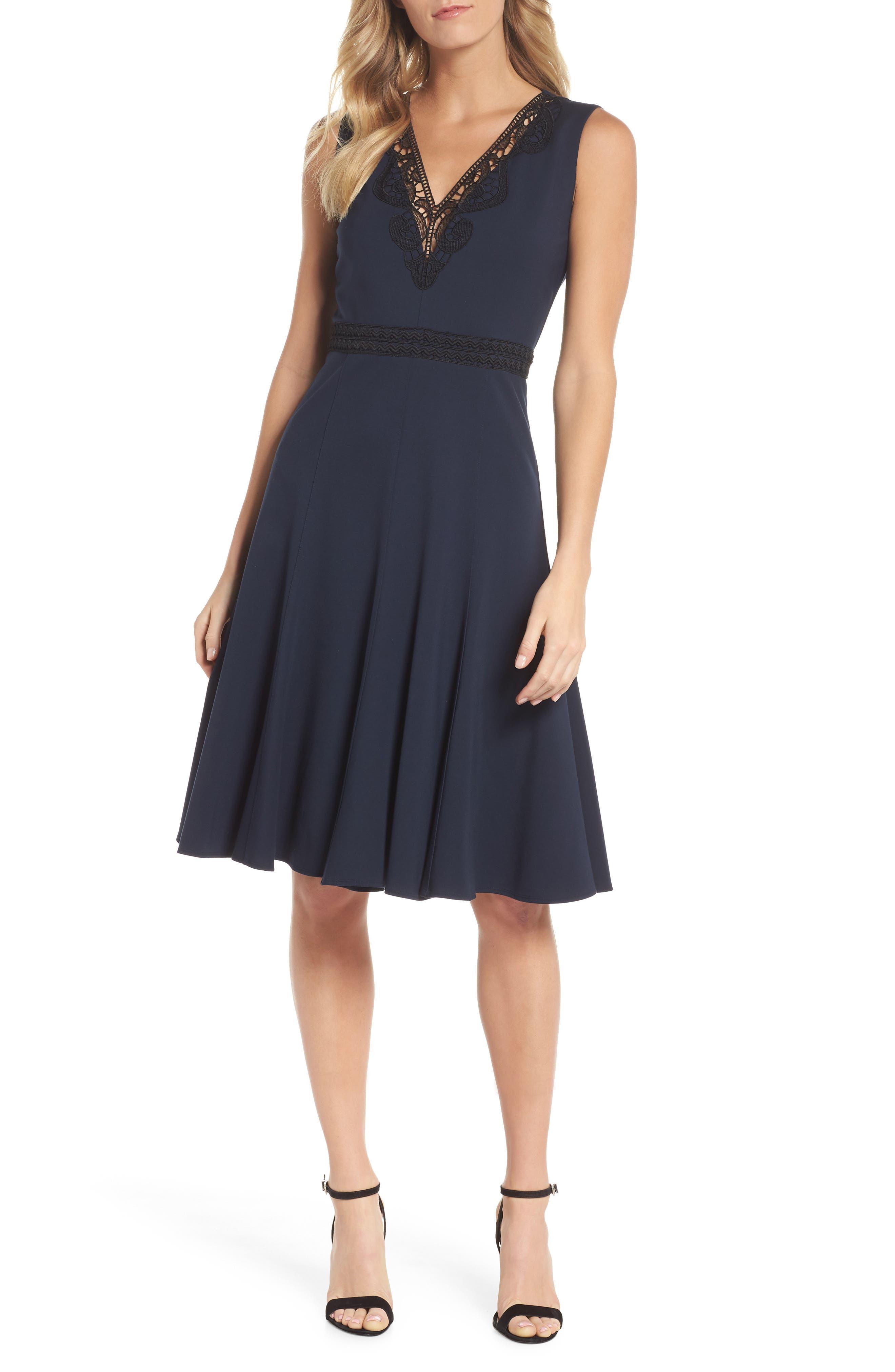 Hazel Lace Trim V-Neck Dress,                             Main thumbnail 1, color,                             Midnight Blue/ Black