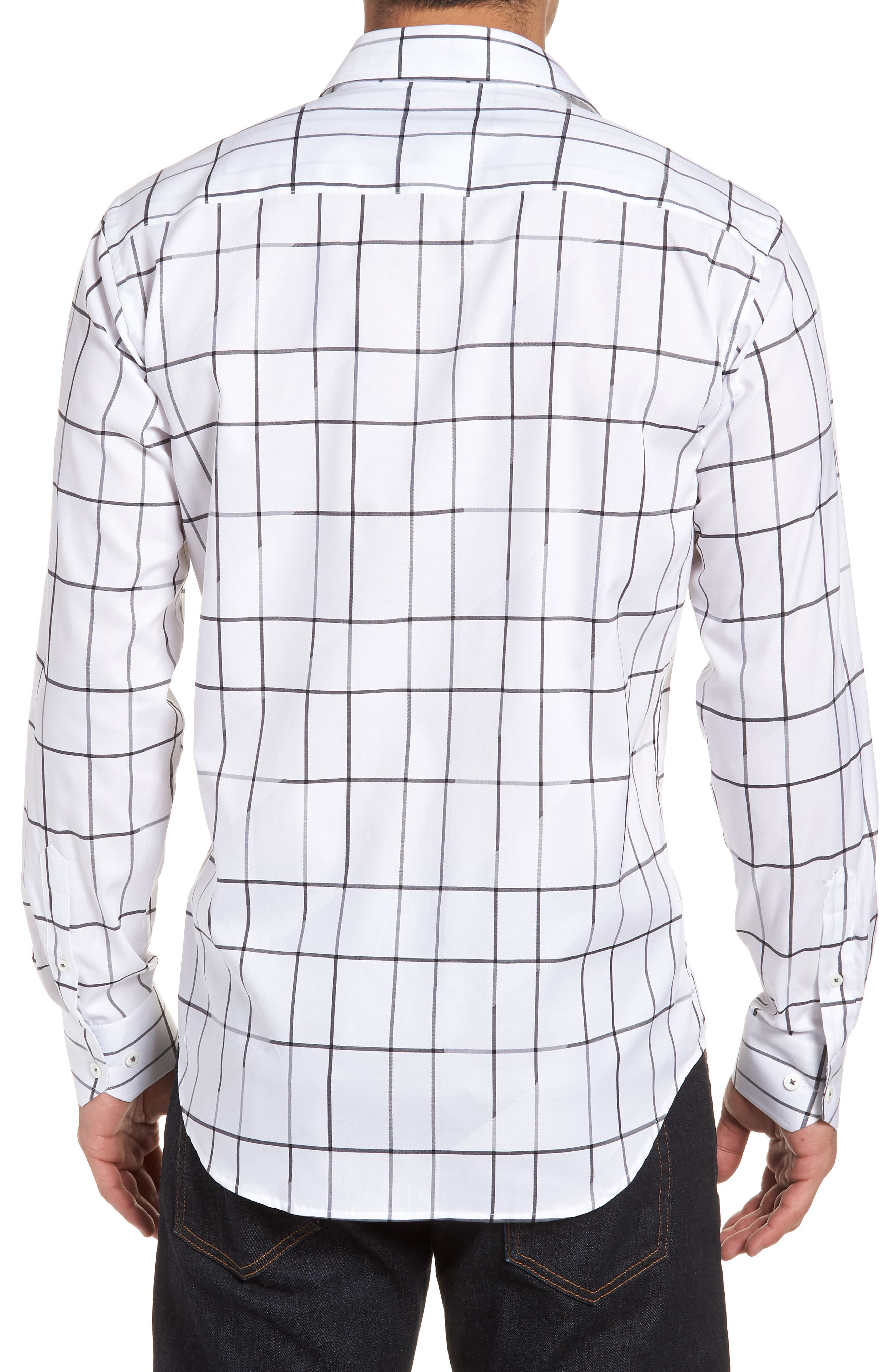 Shaped Fit Check Sport Shirt,                             Alternate thumbnail 2, color,                             White