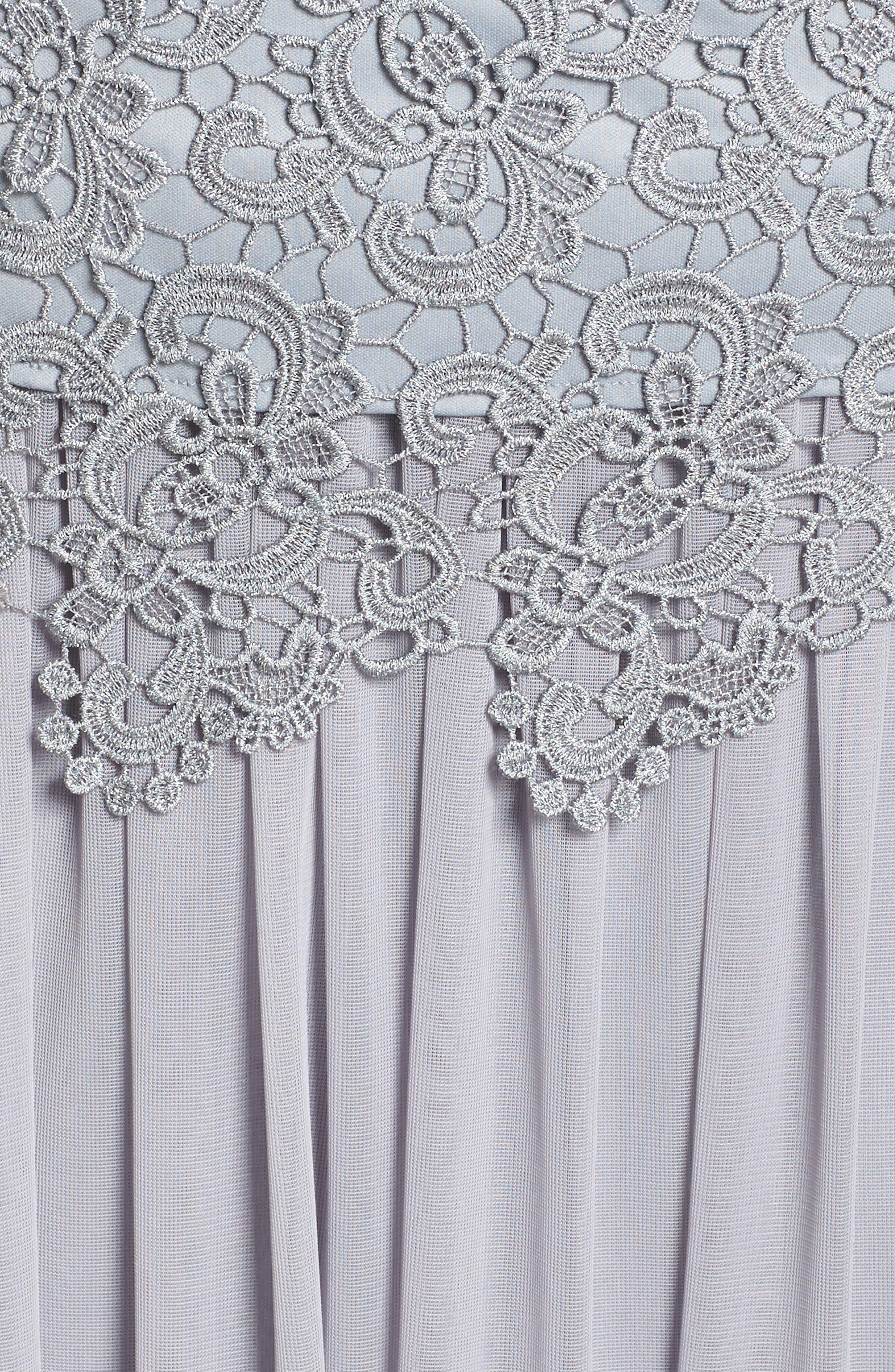 Lace & Chiffon Tea Length Dress,                             Alternate thumbnail 5, color,                             Silver