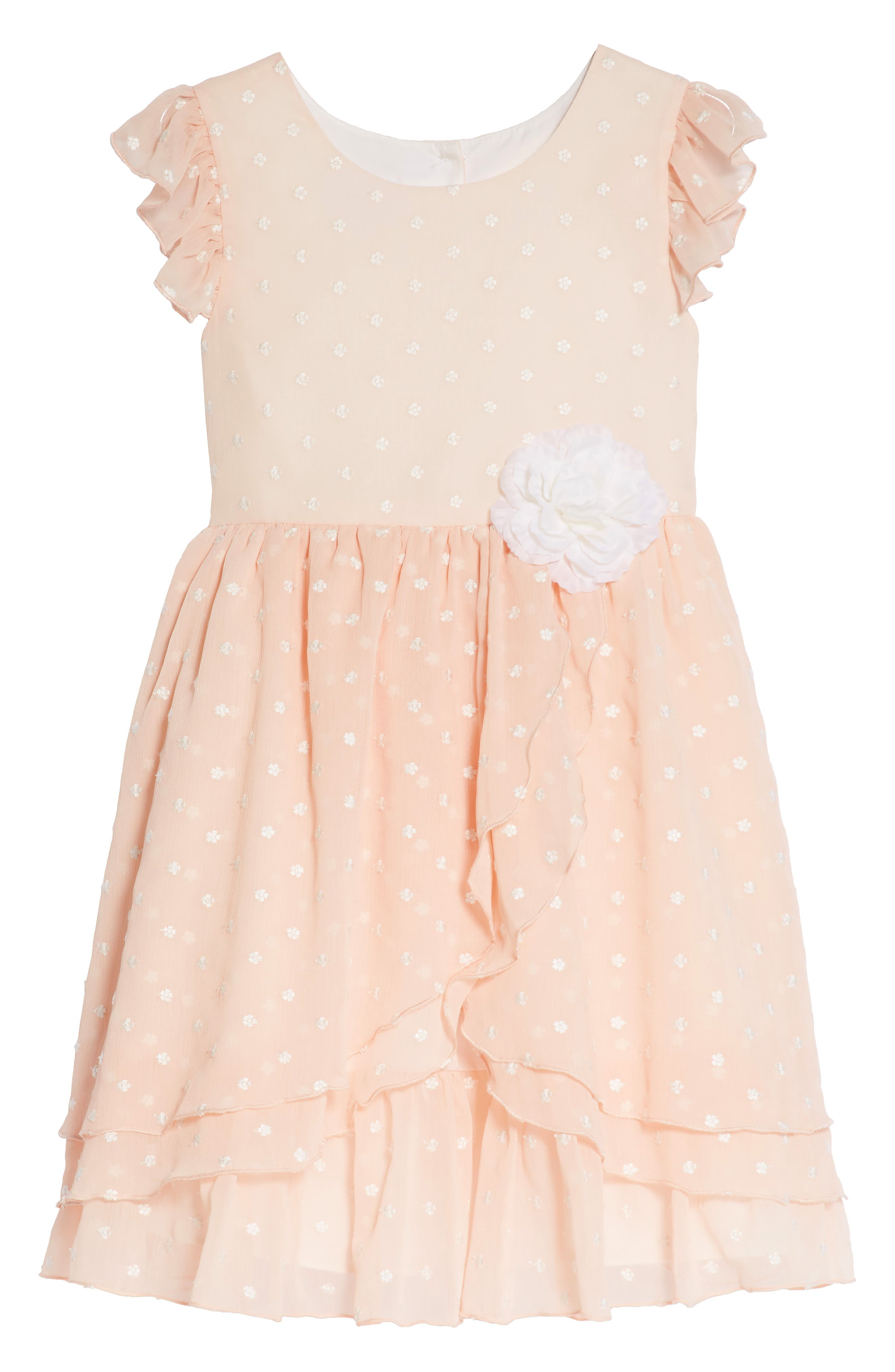 Embroidered Crinkle Chiffon Dress,                         Main,                         color, Peach