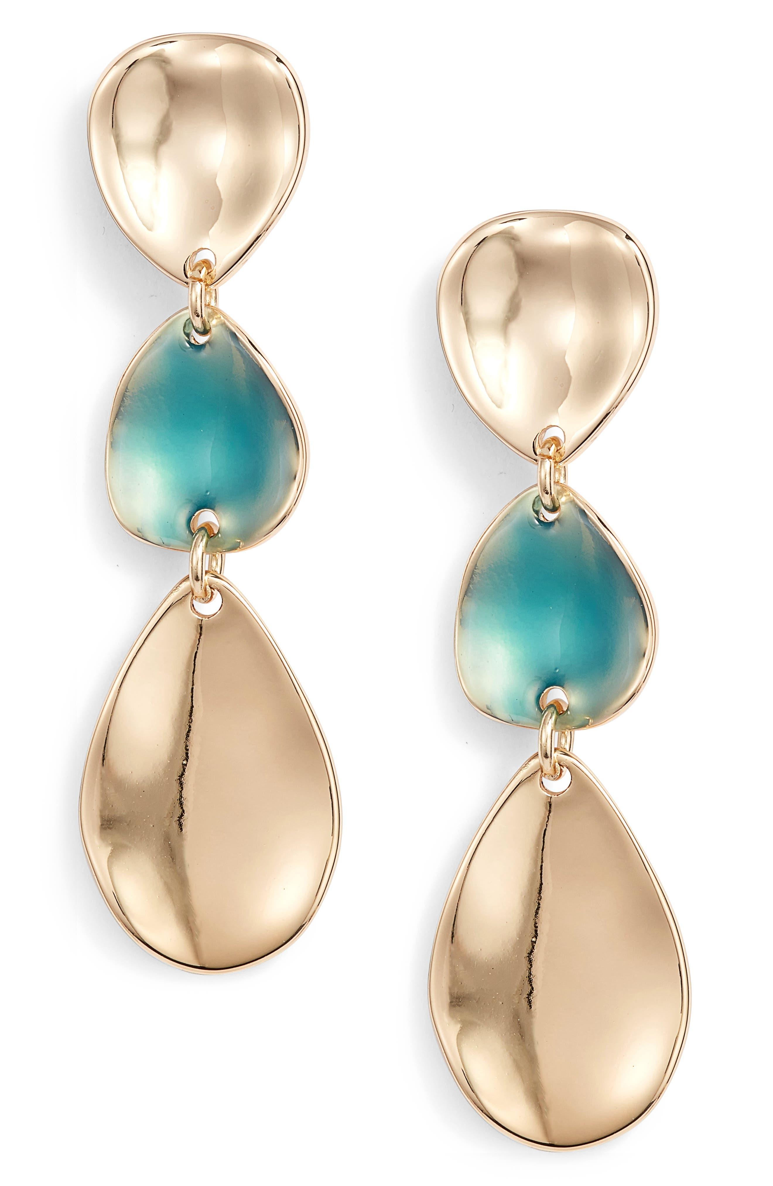 Alternate Image 1 Selected - Halogen® Painted Petal Triple Drop Earrings