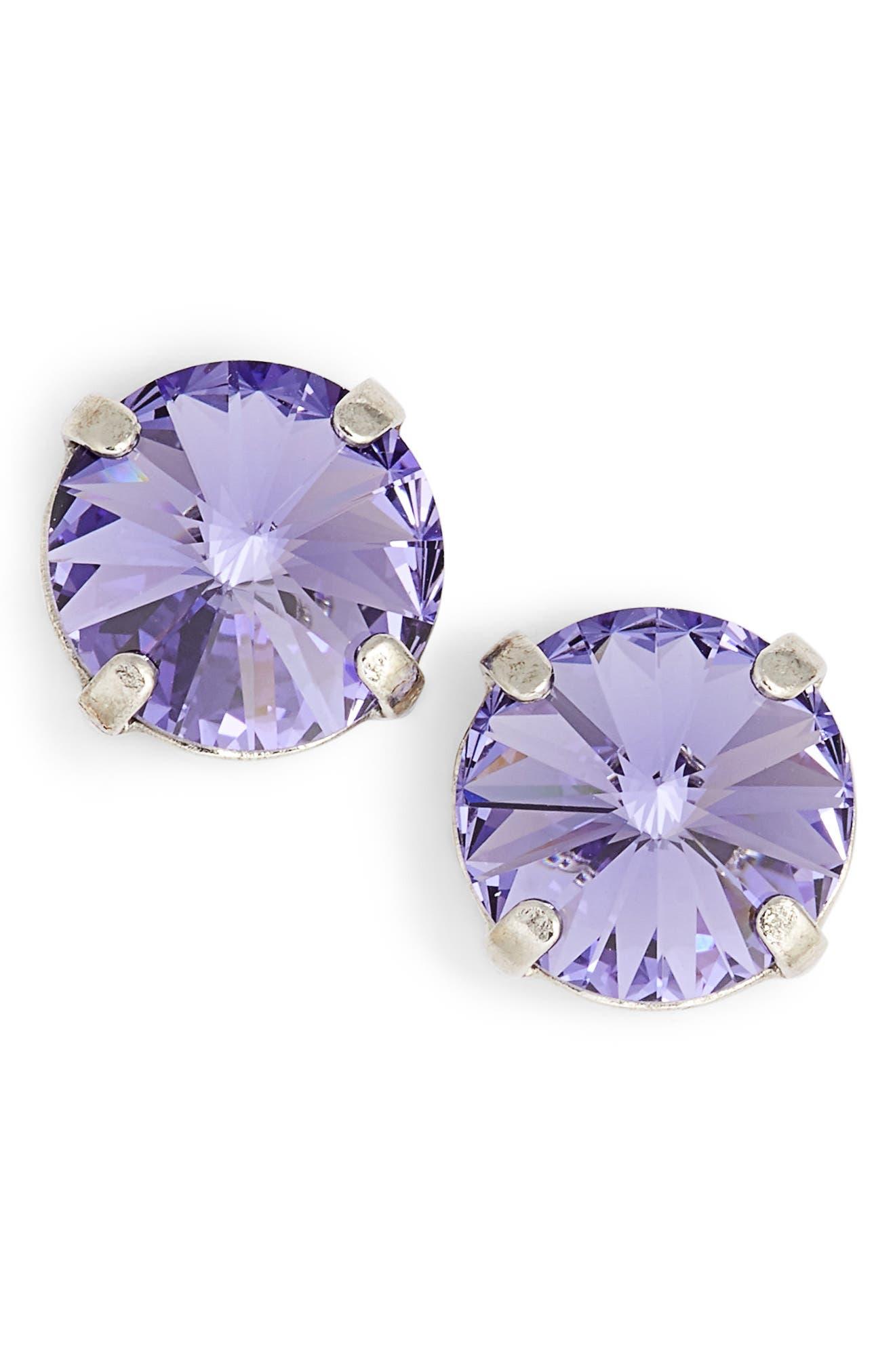Radiant Rivoli Earrings,                             Main thumbnail 1, color,                             Purple