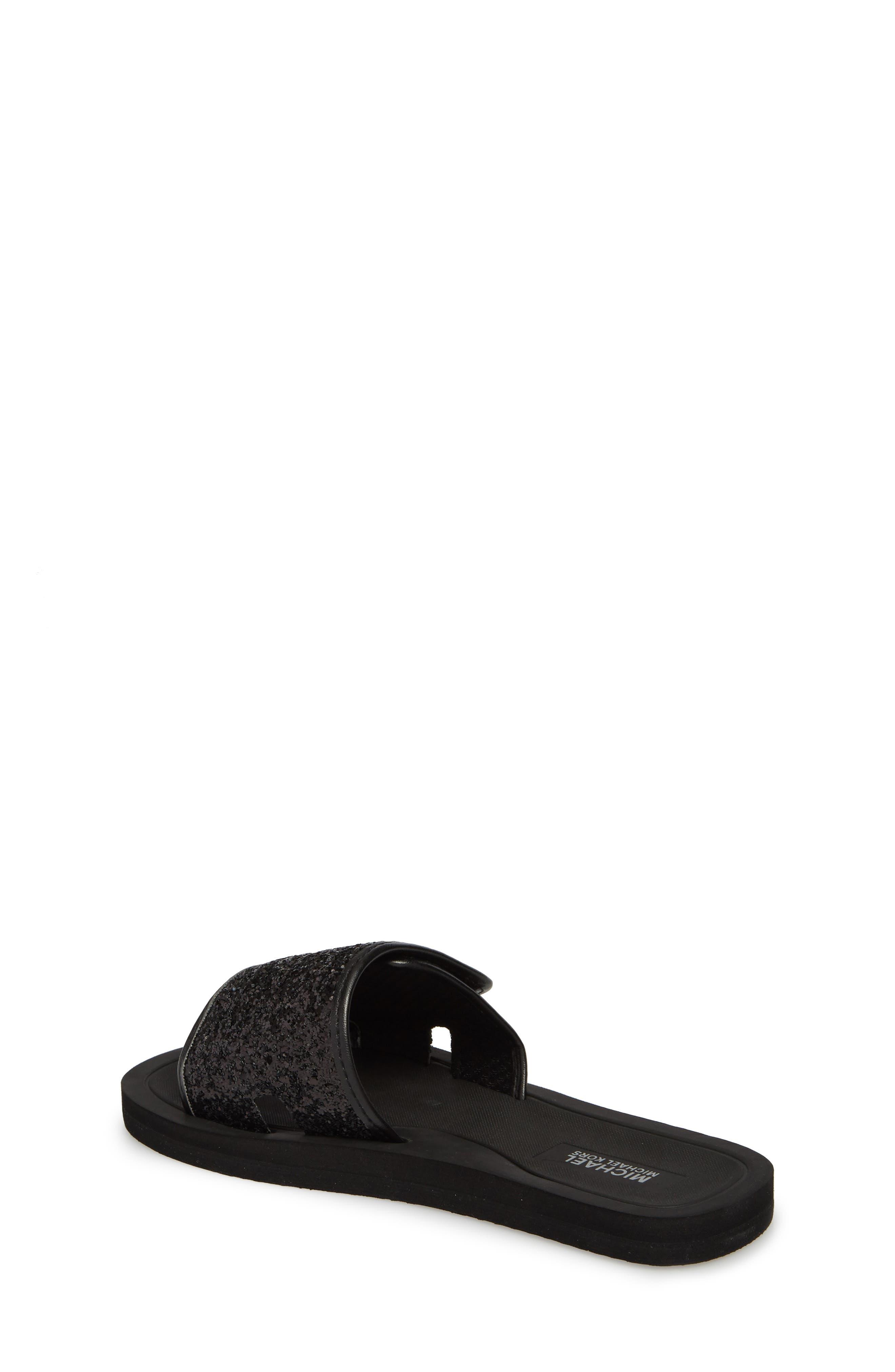 Eli Glitter Slide Sandal,                             Alternate thumbnail 2, color,                             Black