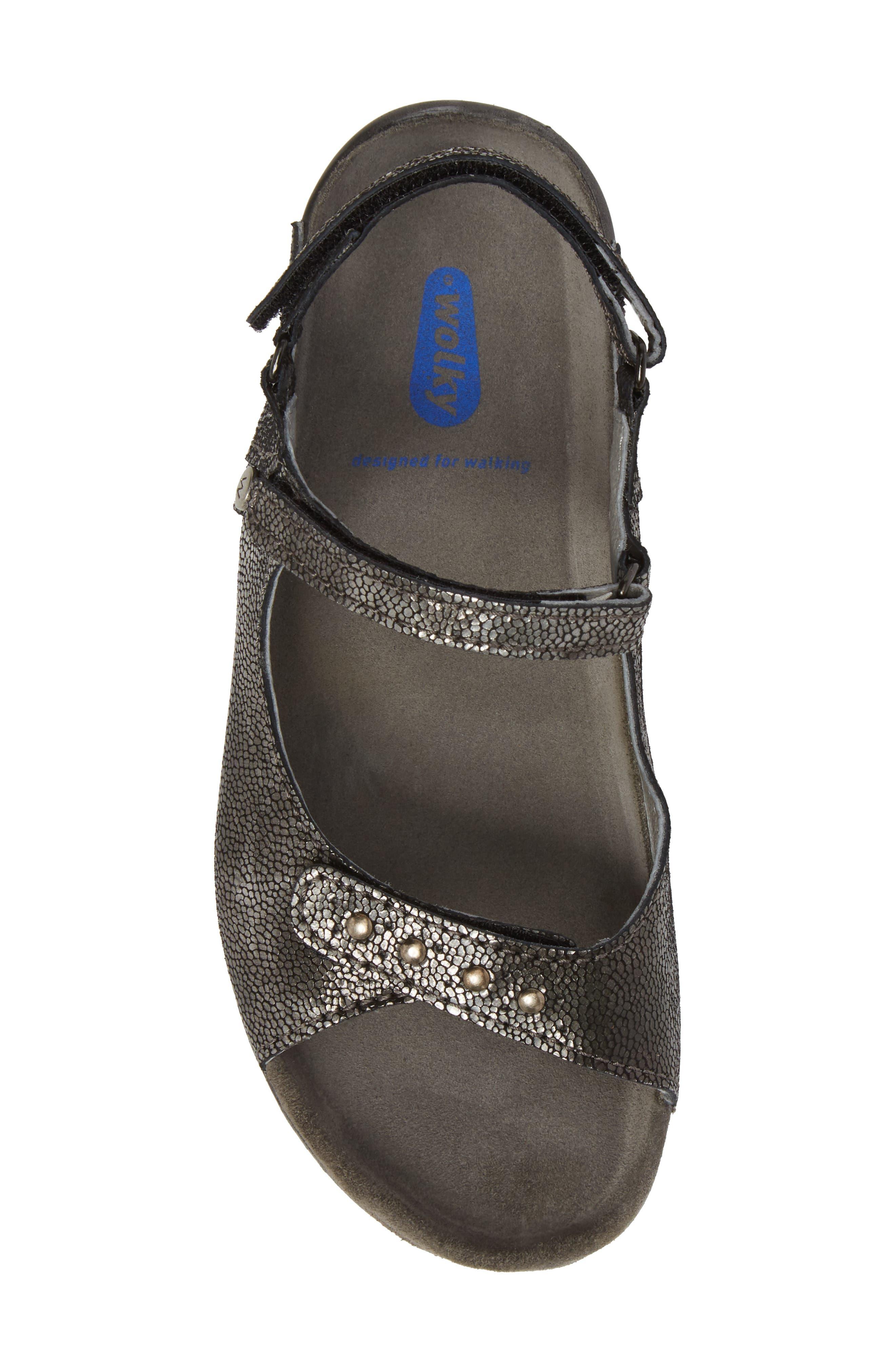 Cortez Sandal,                             Alternate thumbnail 5, color,                             Black Leather