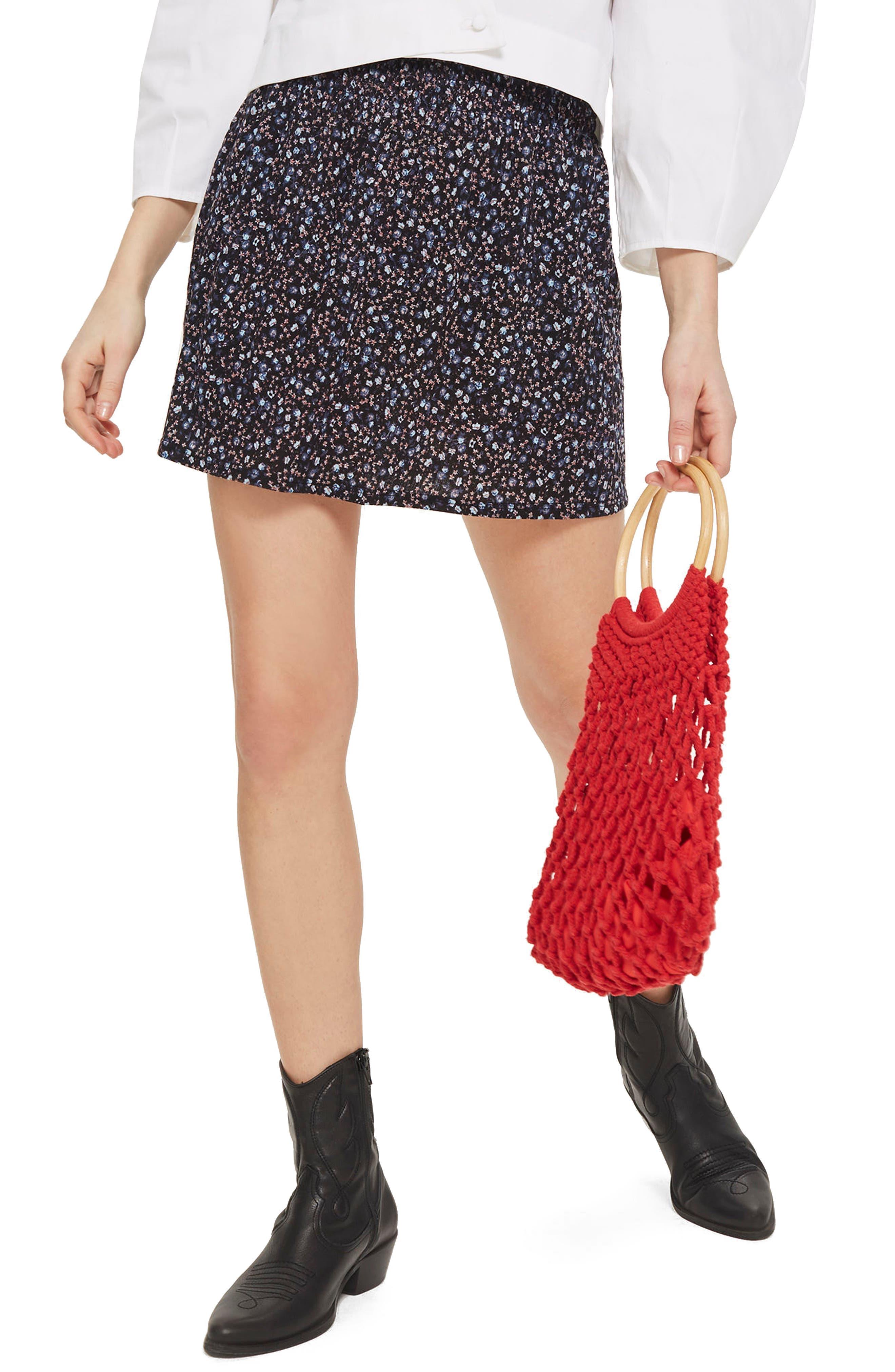 Floral Print Shirred Miniskirt,                         Main,                         color, Black Multi