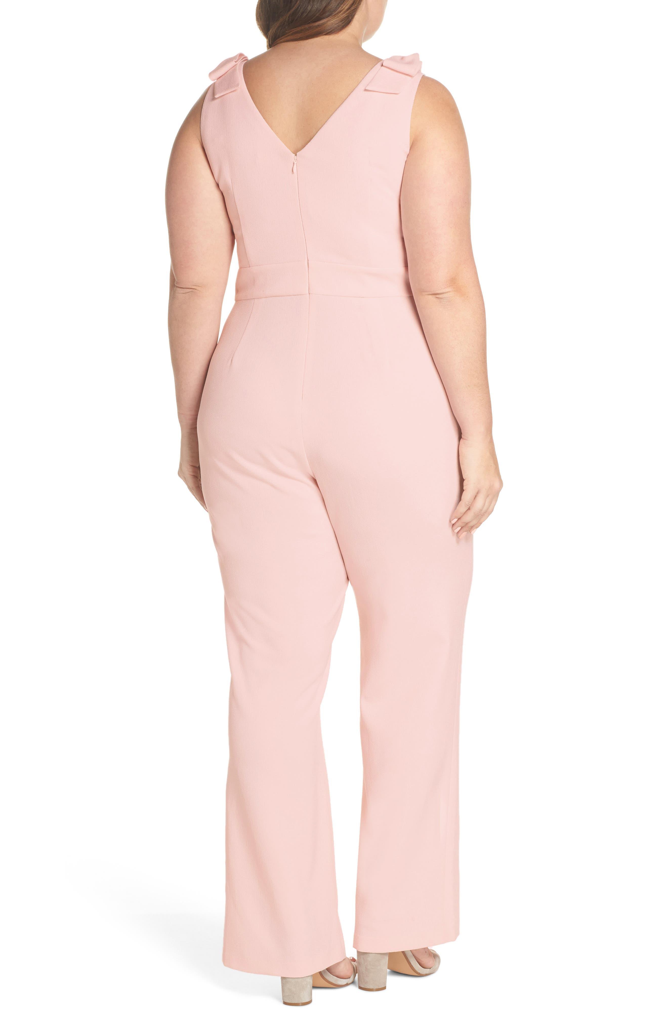 Bow Shoulder Jumpsuit,                             Alternate thumbnail 3, color,                             Pink Potpourri