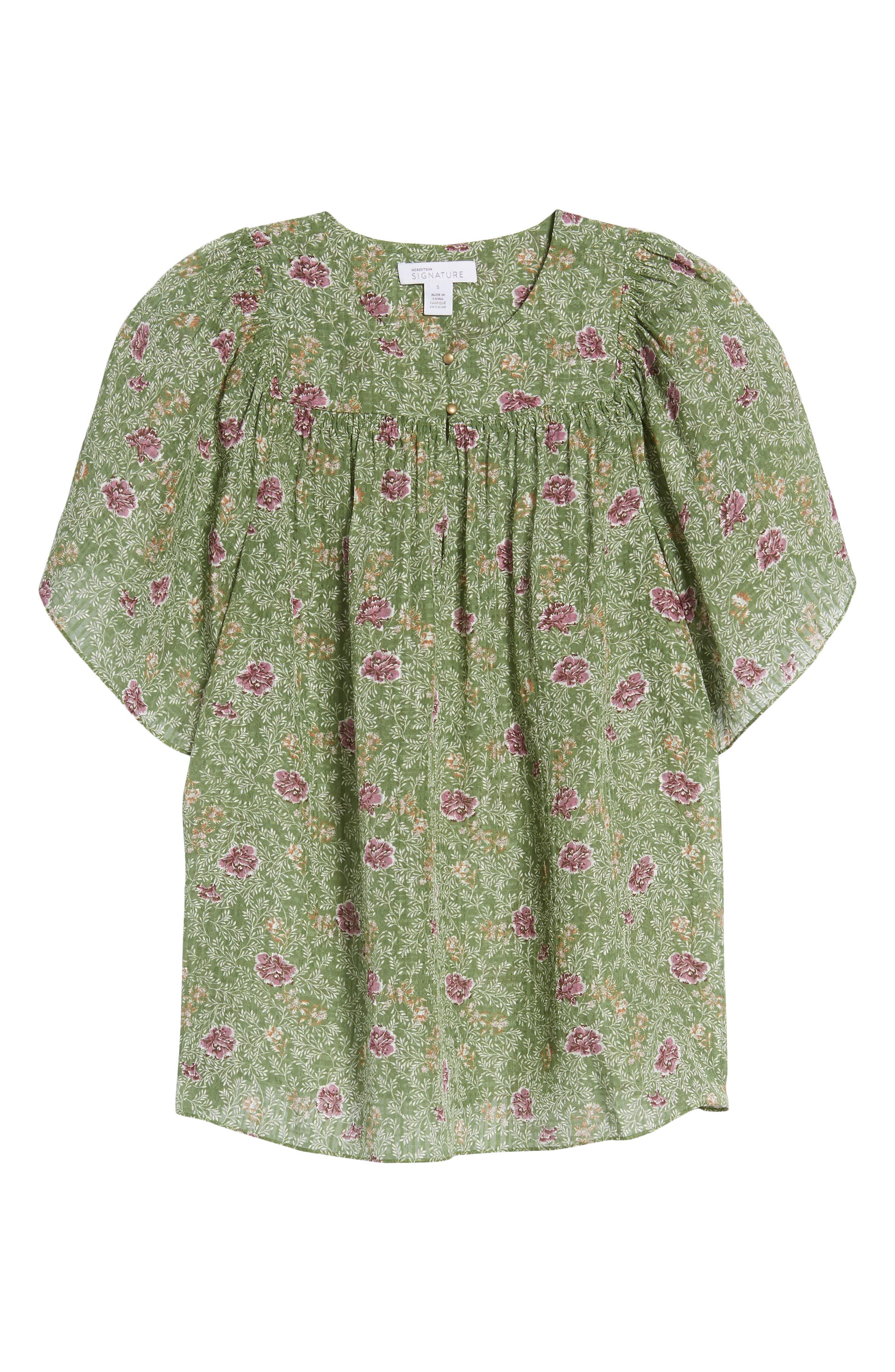 Floral Flutter Sleeve Silk Top,                             Alternate thumbnail 7, color,                             Green Vineyard Jakarta Floral