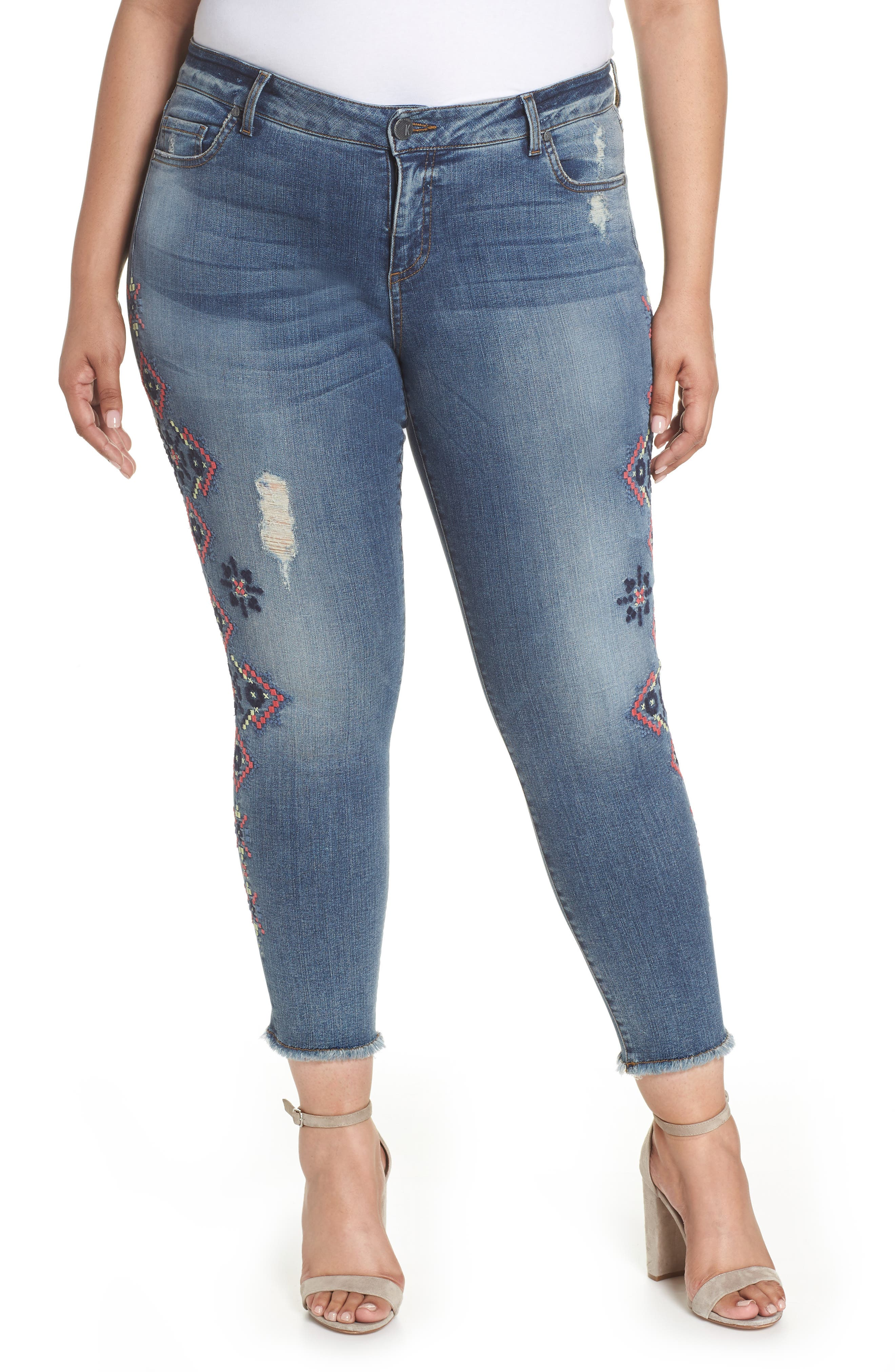 Embroidered Skinny Jeans,                         Main,                         color, Input
