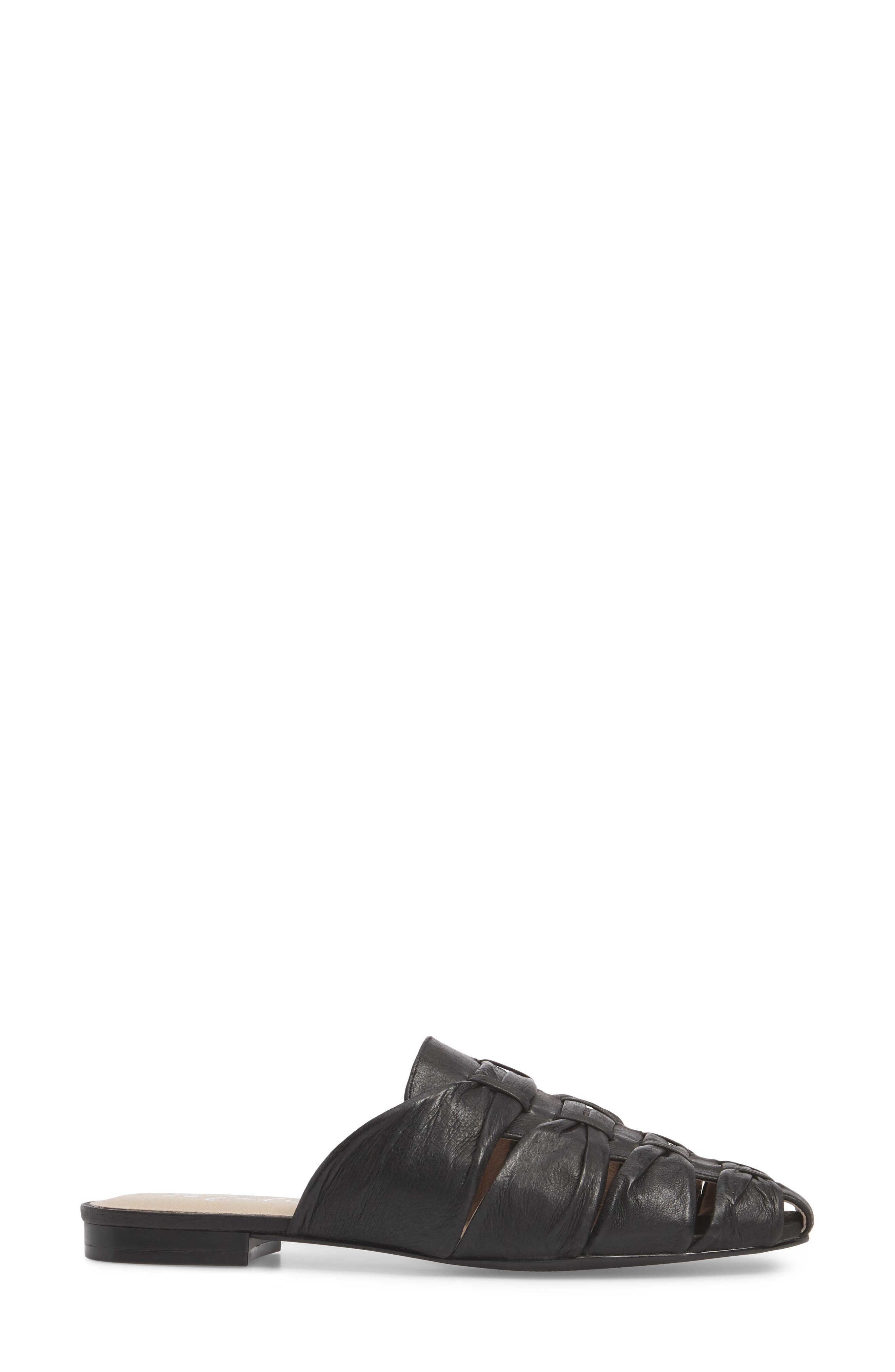 Evangeline Mule,                             Alternate thumbnail 3, color,                             Black Leather