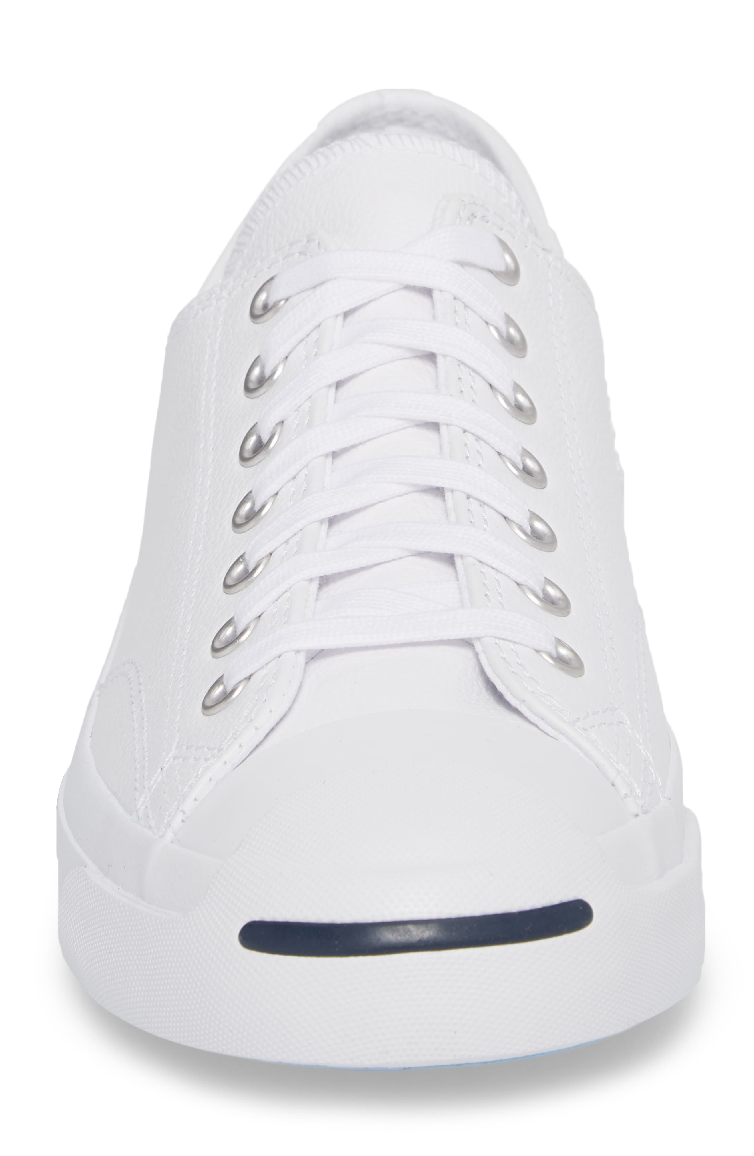 'Jack Purcell' Leather Sneaker,                             Alternate thumbnail 4, color,                             White/ Navy