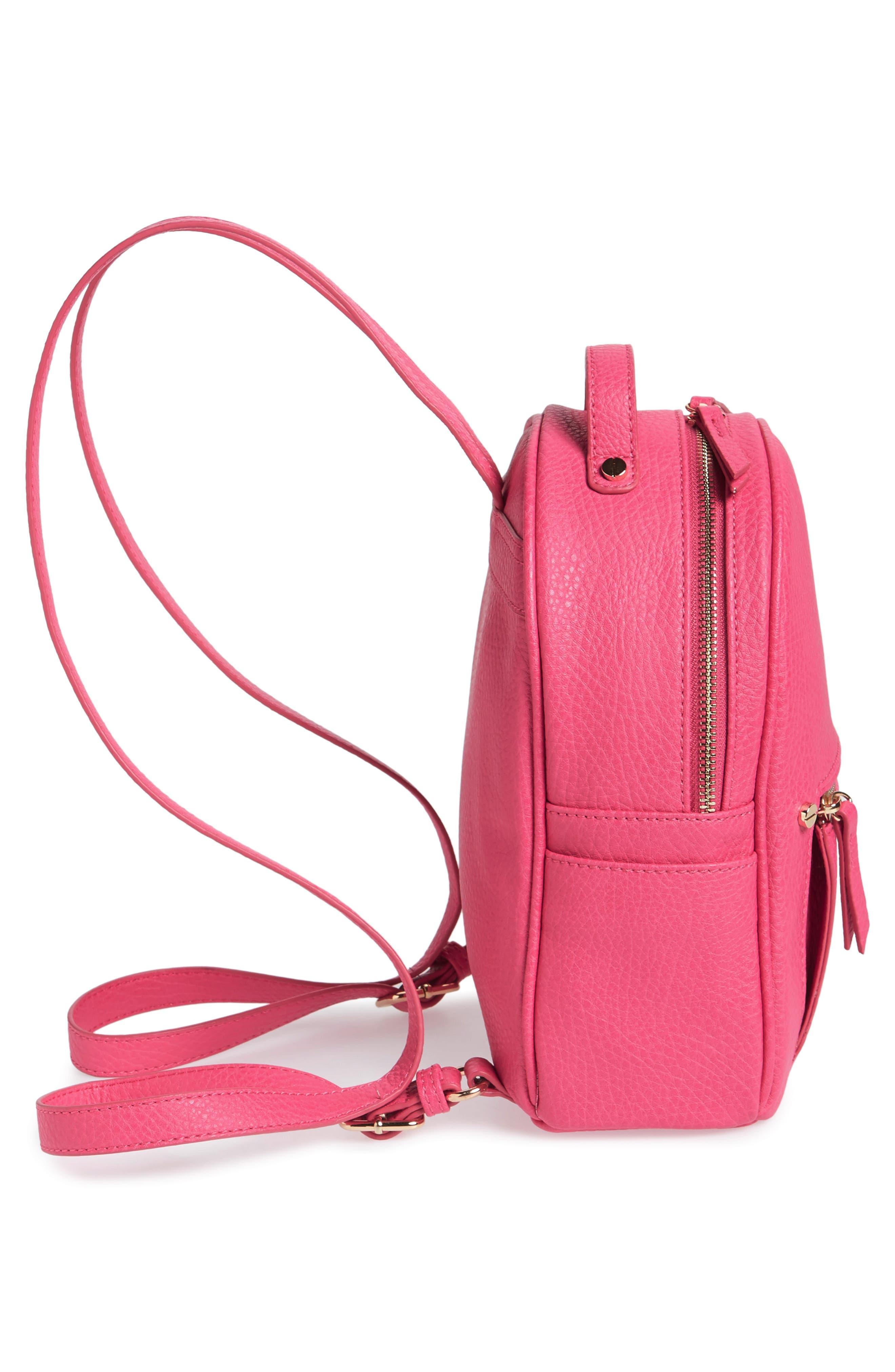 Mali + Lili Hannah Vegan Leather Backpack,                             Alternate thumbnail 5, color,                             Hot Pink