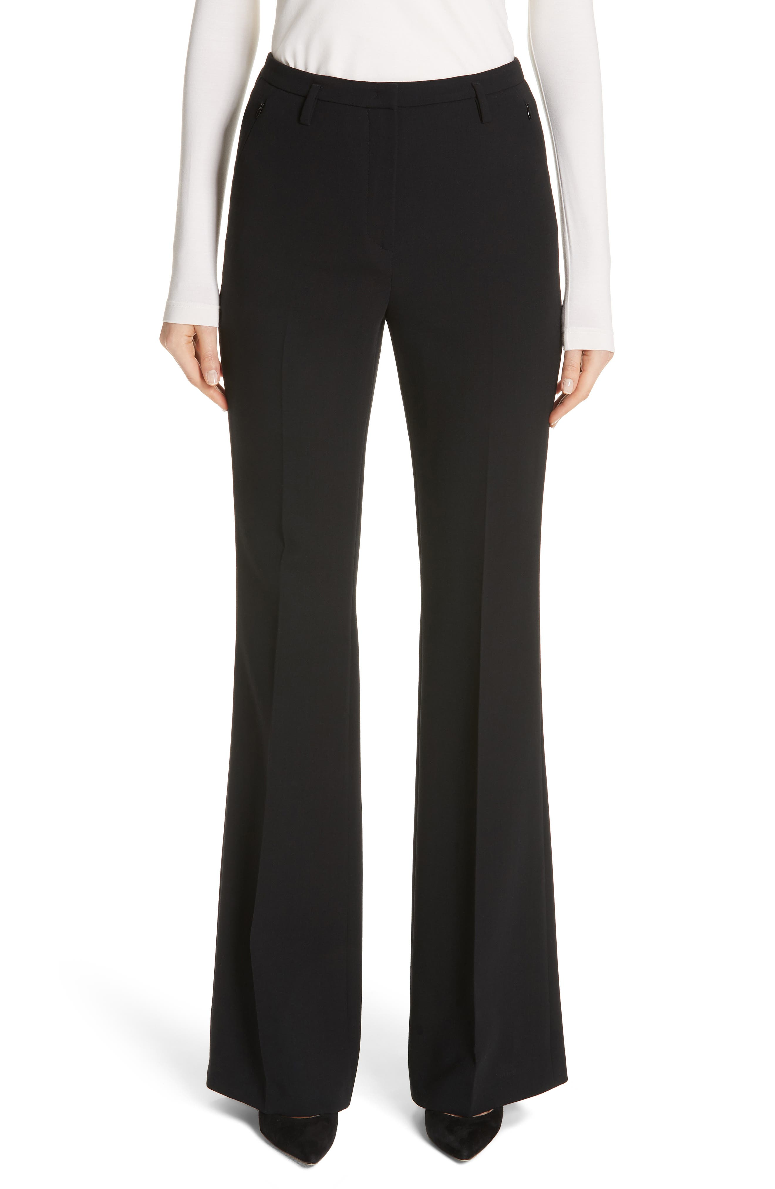 Farrah Stretch Wool Flare Pants,                             Main thumbnail 1, color,                             Black