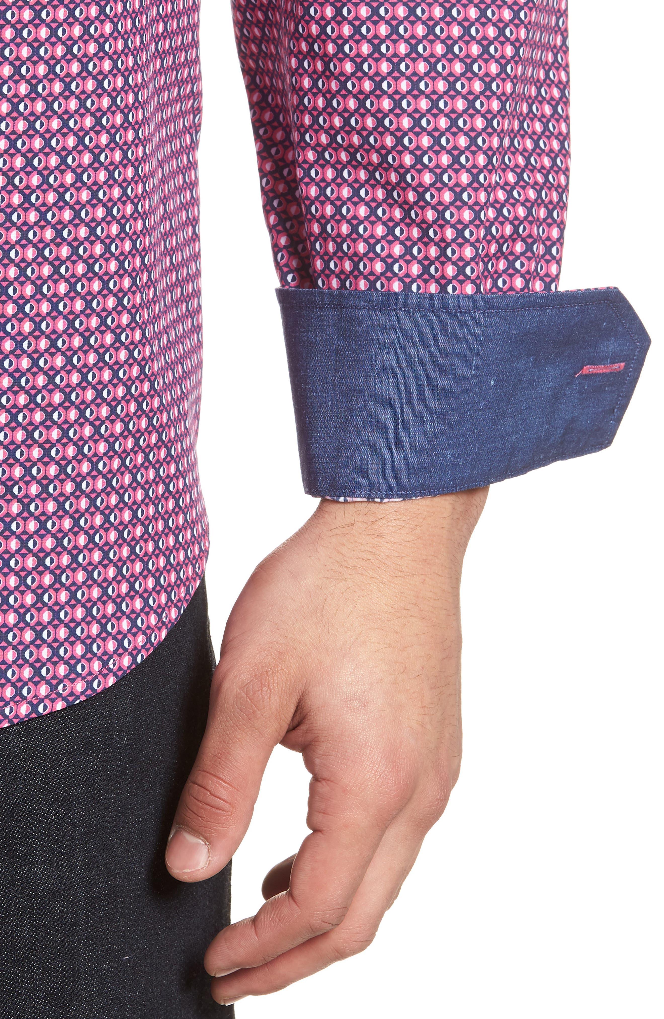Classic Fit Woven Sport Shirt,                             Alternate thumbnail 4, color,                             Magenta