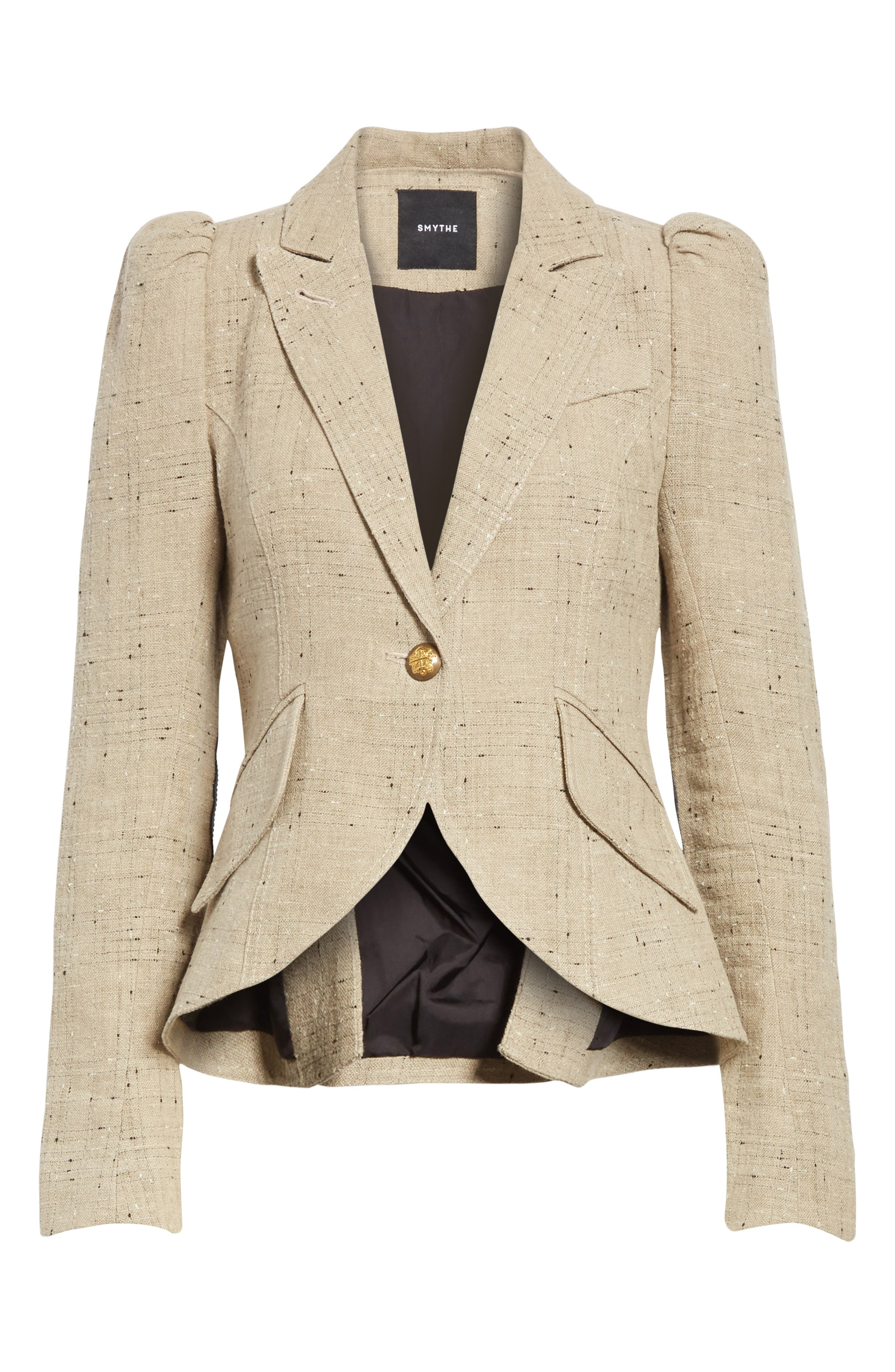 Leather Elbow Patch Linen Blend Blazer,                             Alternate thumbnail 6, color,                             Stone W/ Black Leather