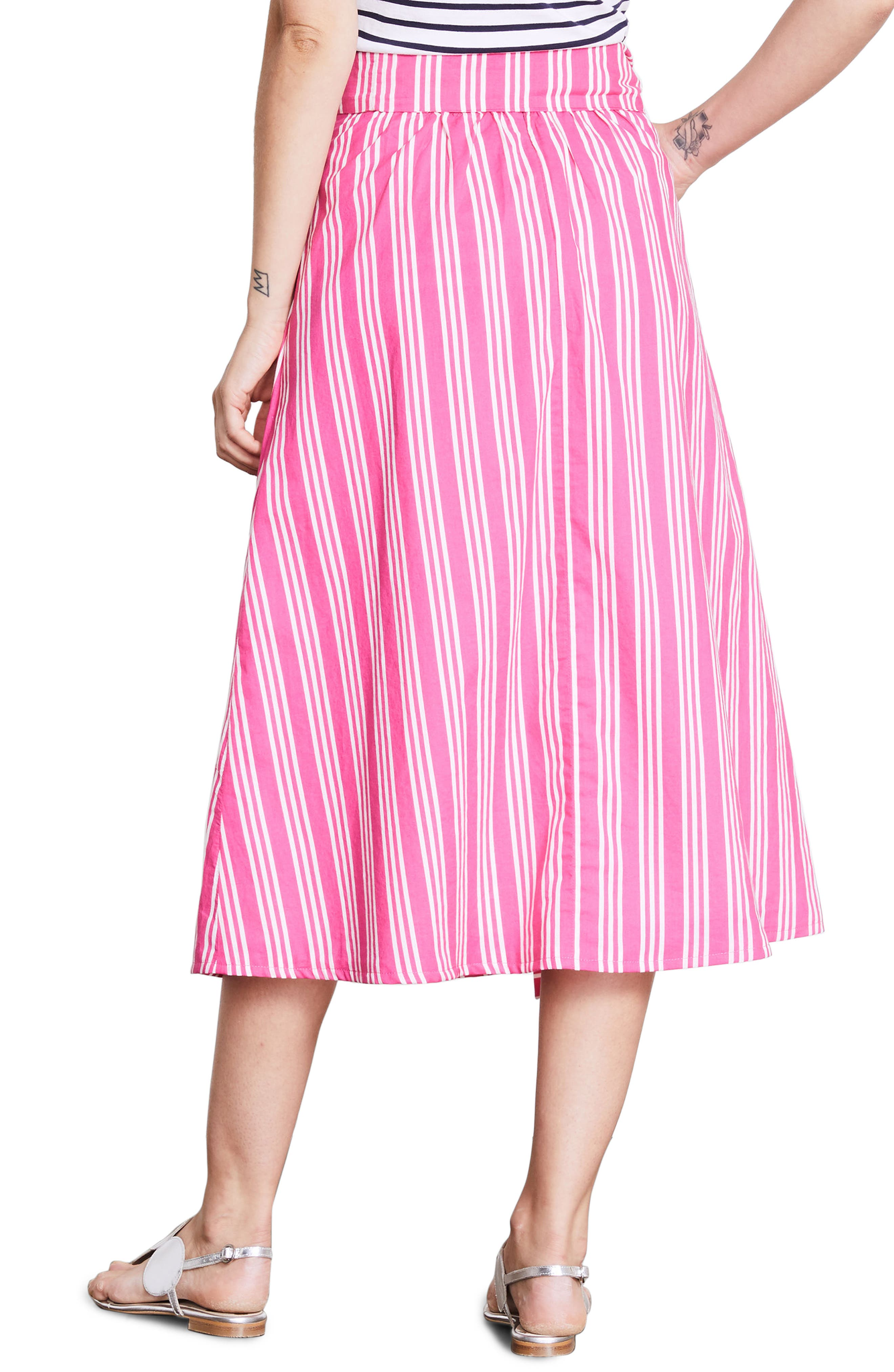 Kiera Midi Skirt,                             Alternate thumbnail 3, color,                             Party Pink And Ecru