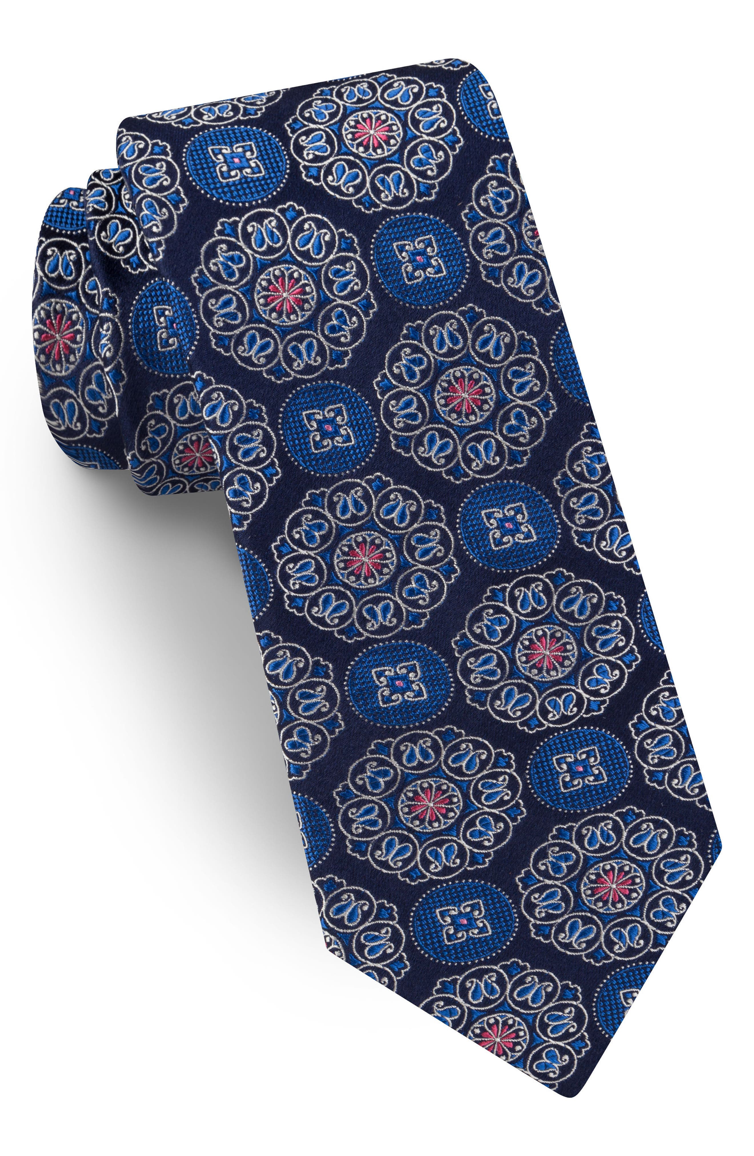 Medallion Silk Tie,                         Main,                         color, Navy