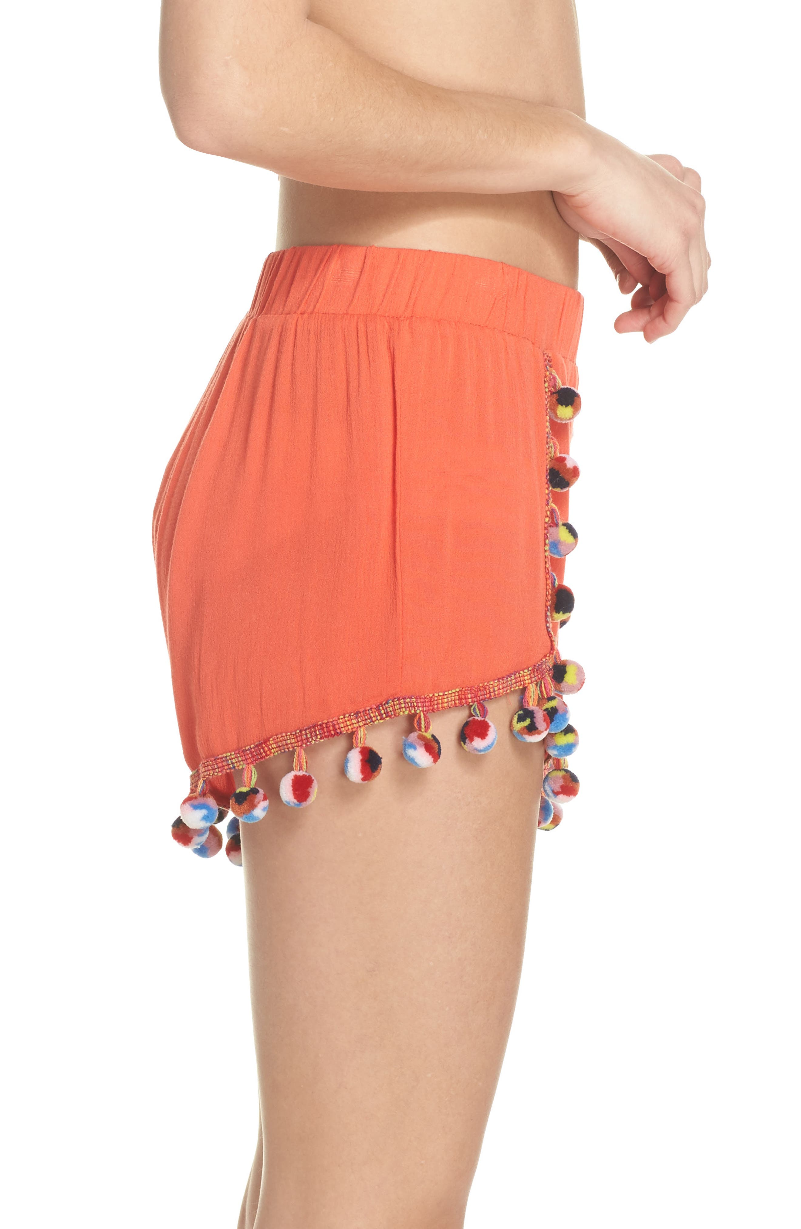 Red Fruit Punch Pompom Cover-Up Shorts,                             Alternate thumbnail 3, color,                             Red