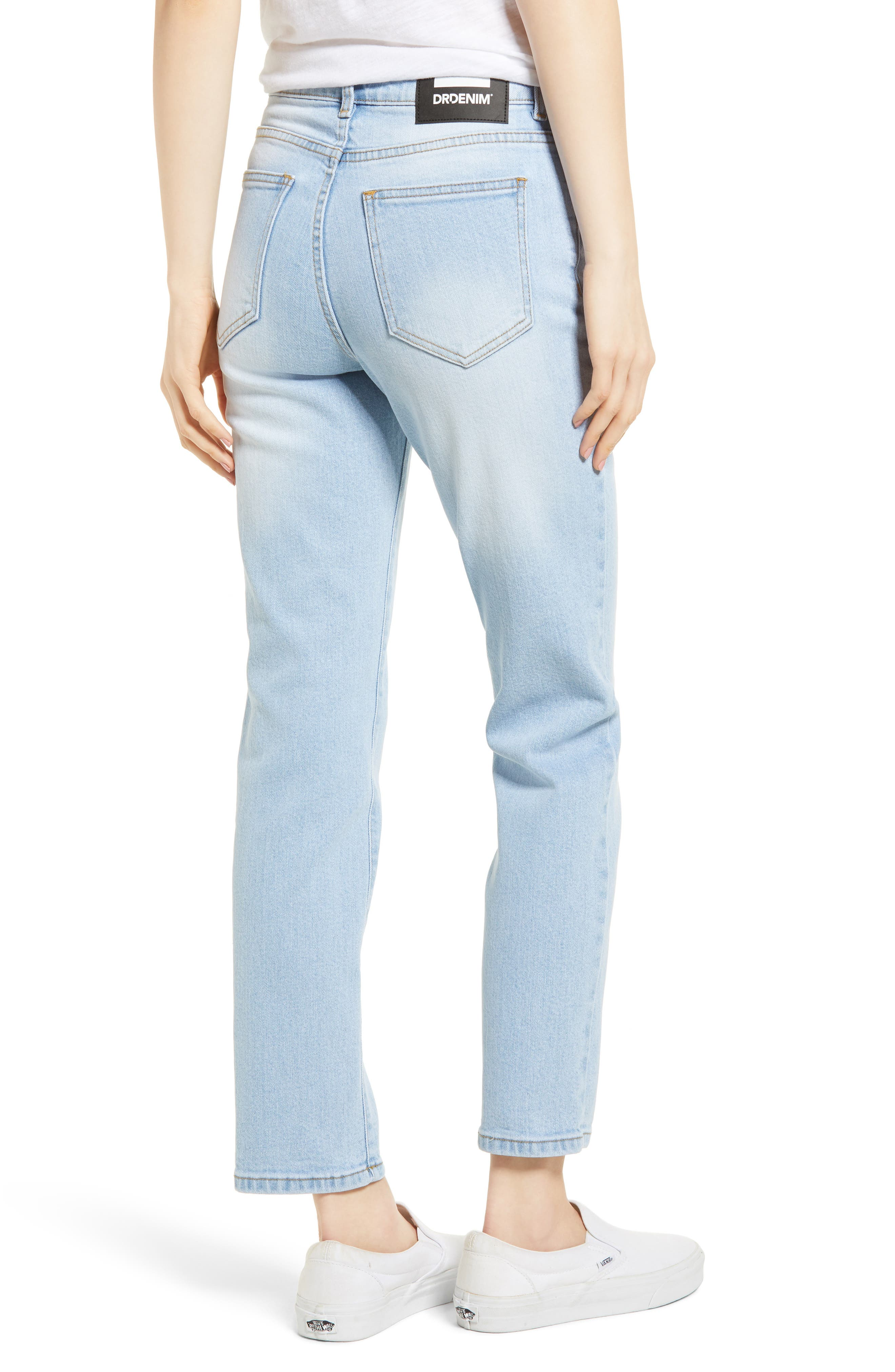 Edie High Waist Crop Straight Leg Jeans,                             Alternate thumbnail 2, color,                             Shaded Light Blue