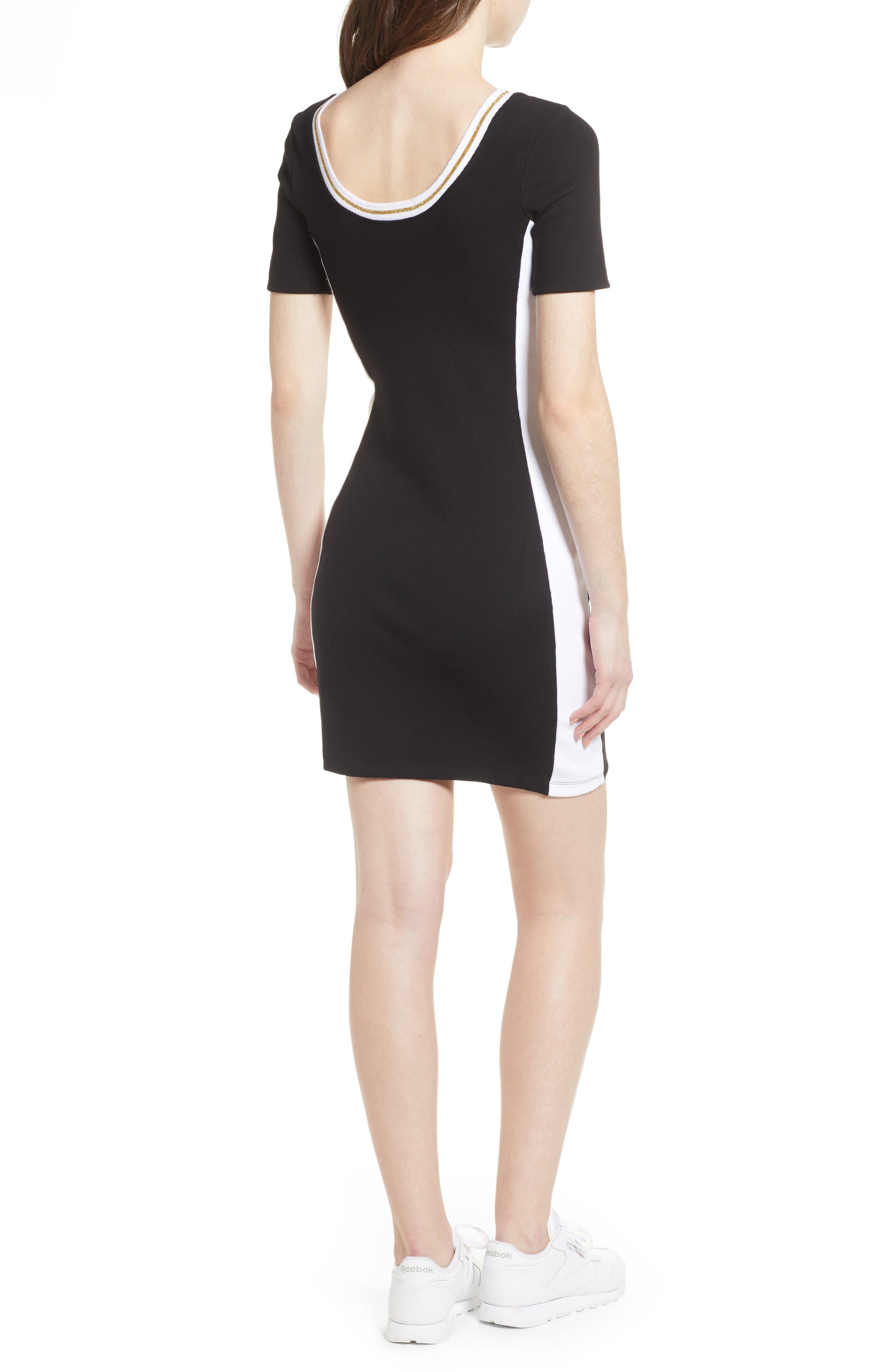 Beth Body-Con Dress,                             Alternate thumbnail 2, color,                             Black/ White