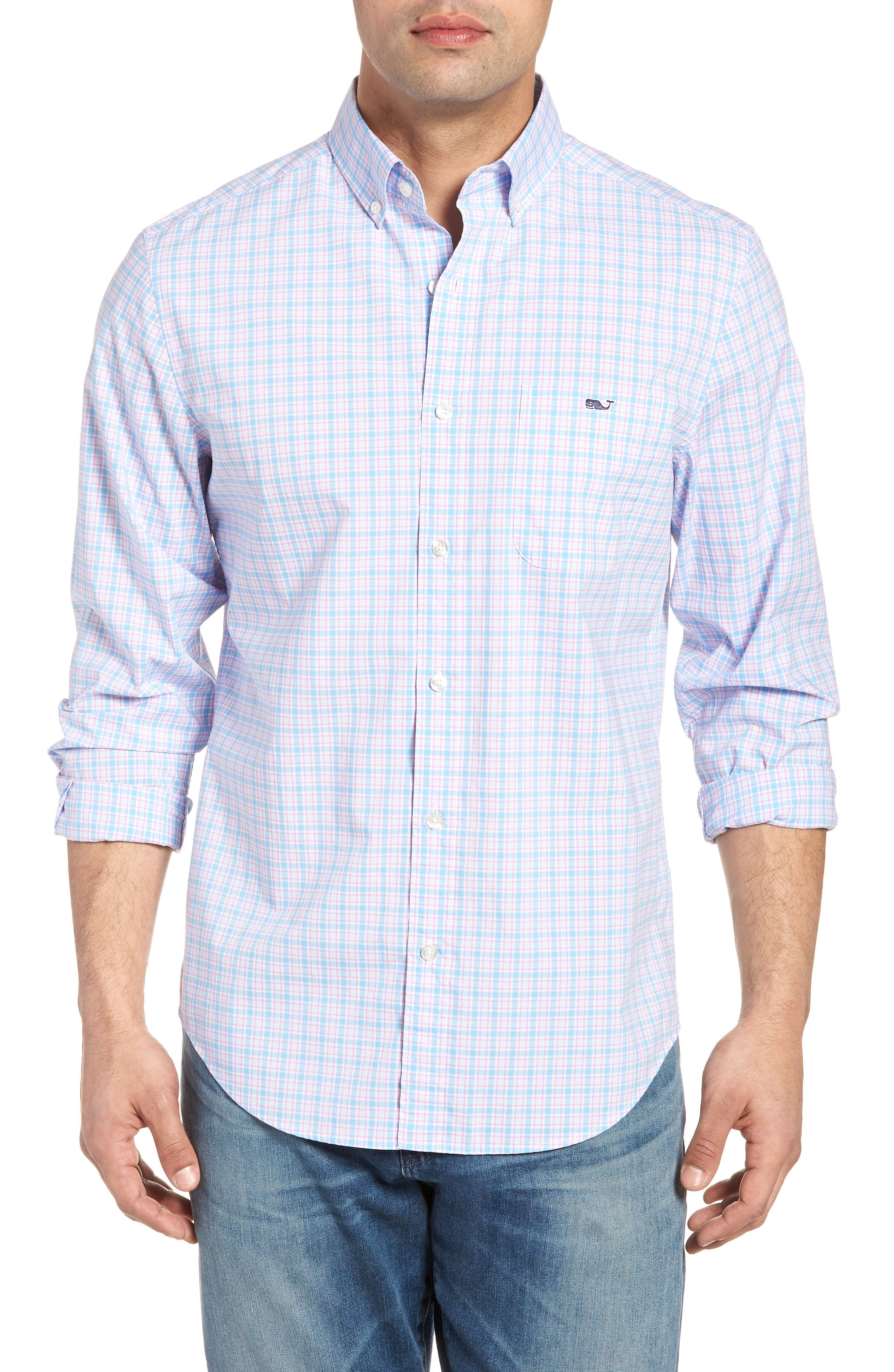 Captain Lyford Classic Fit Stretch Check Sport Shirt,                         Main,                         color, Ocean Breeze