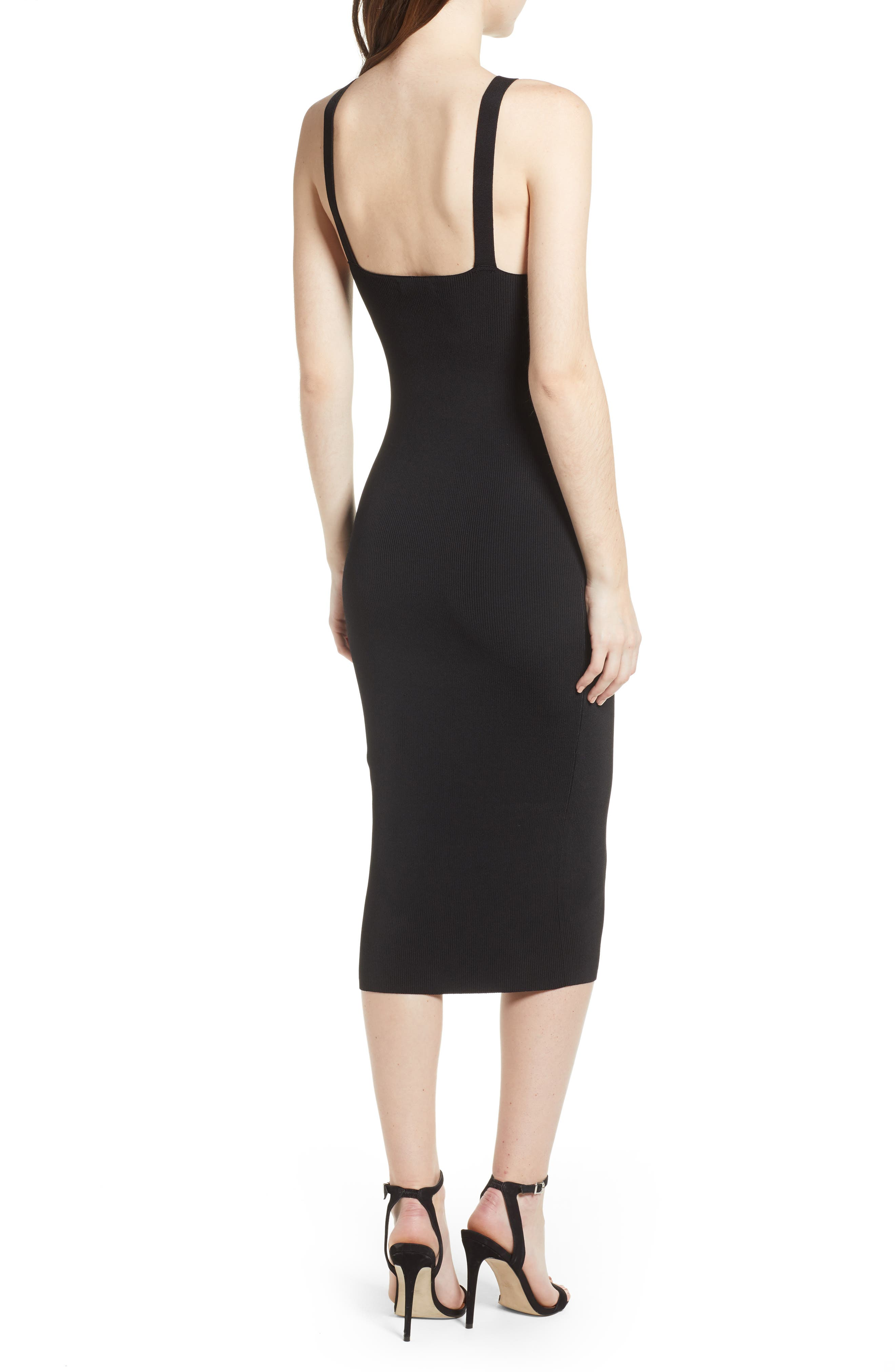 Body-Con Sweater Dress,                             Alternate thumbnail 2, color,                             Black