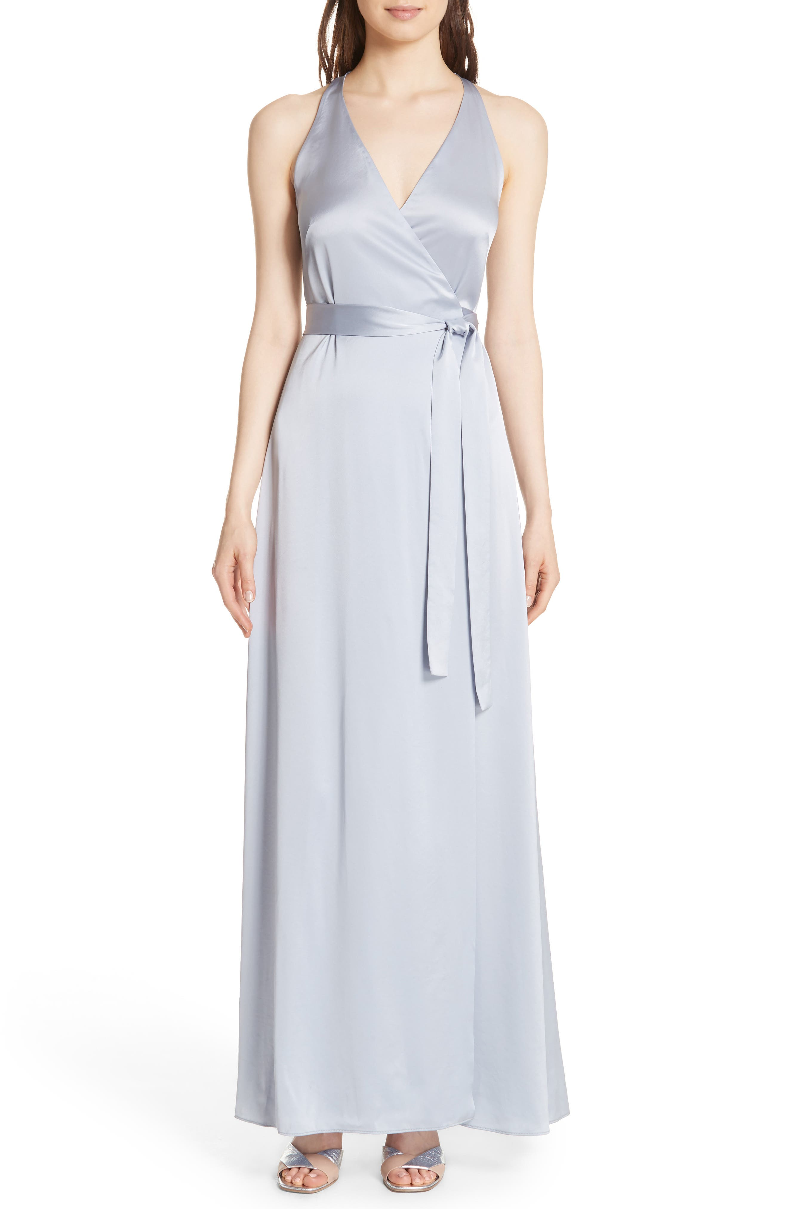 Diane von Furstenberg Wrap Gown,                             Main thumbnail 1, color,                             Smoke