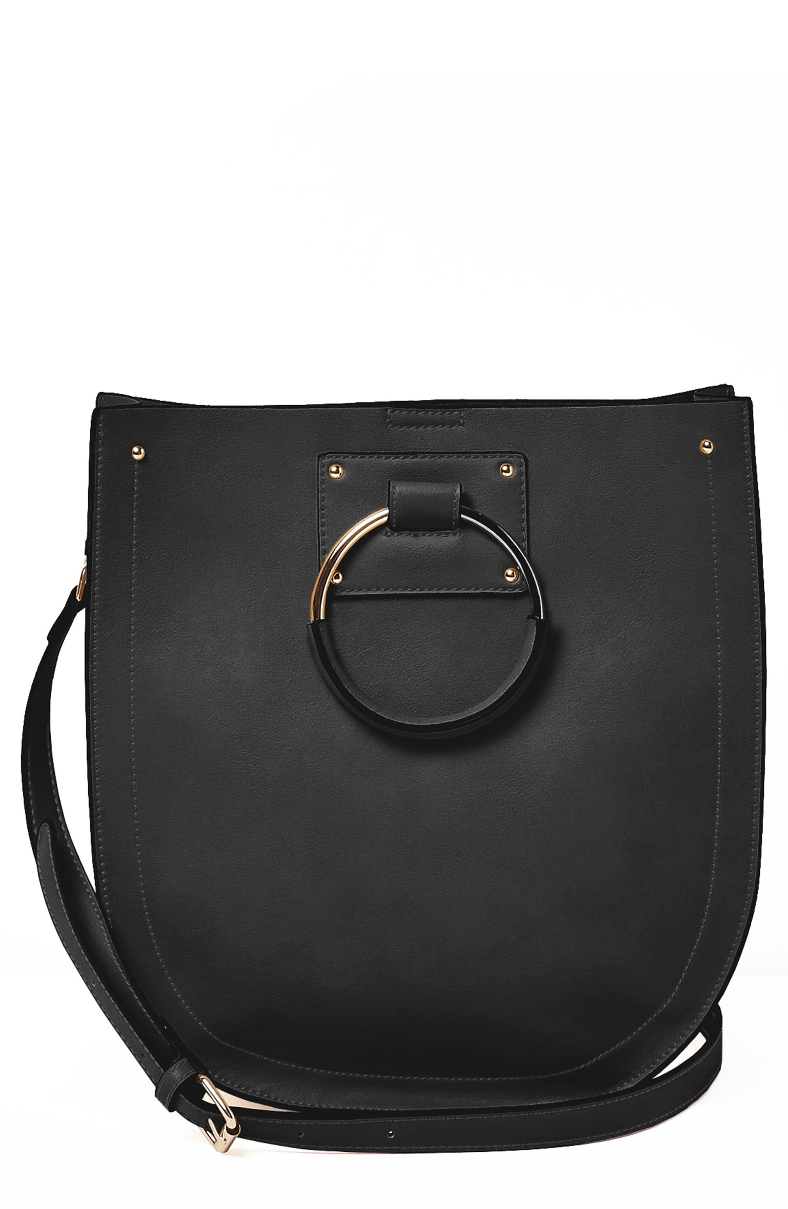 Nordic Dream Vegan Leather Shoulder Bag,                             Main thumbnail 1, color,                             Black