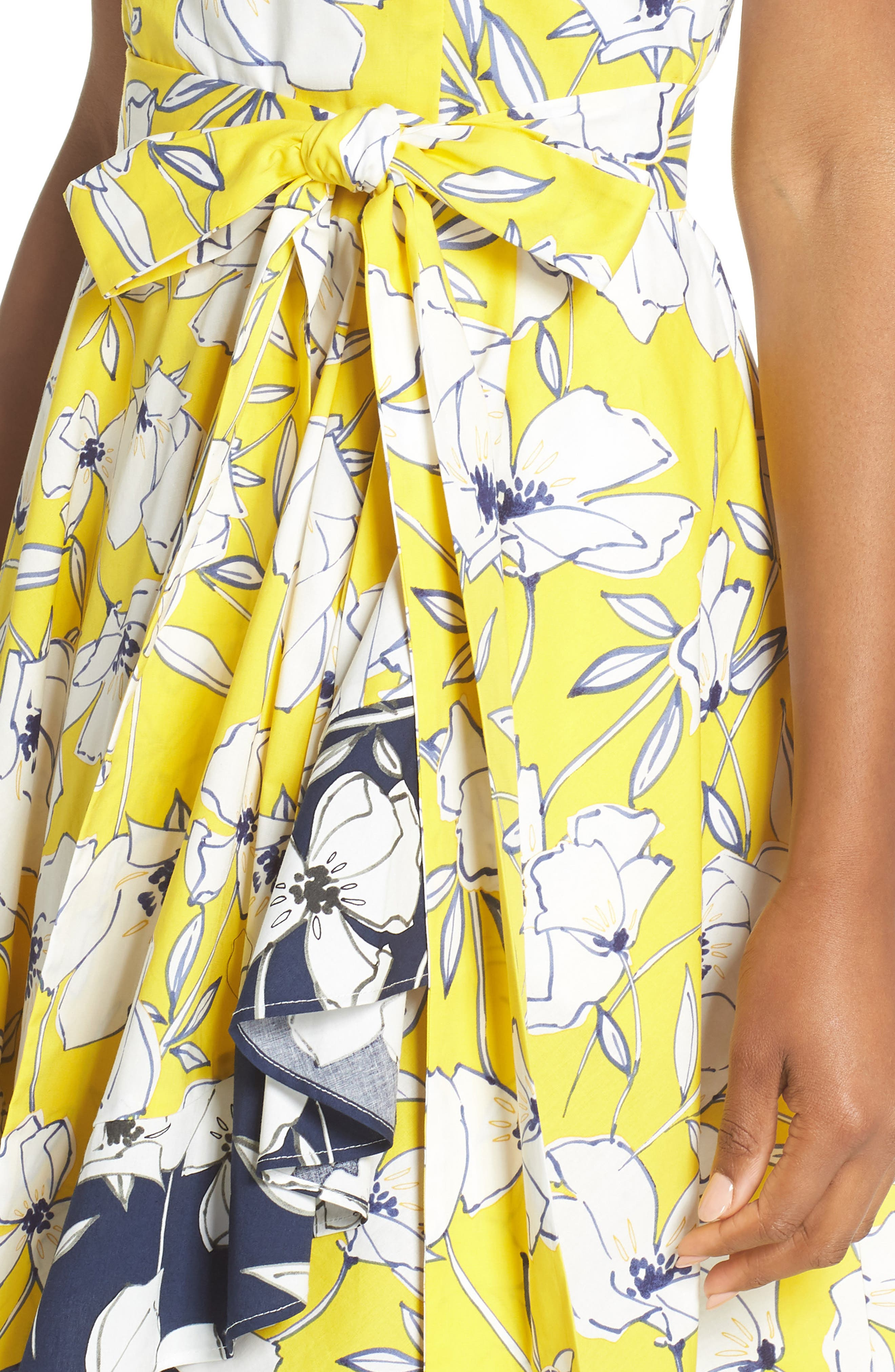 Floral Tie Waist Dress,                             Alternate thumbnail 4, color,                             Yellow/ Navy/ White