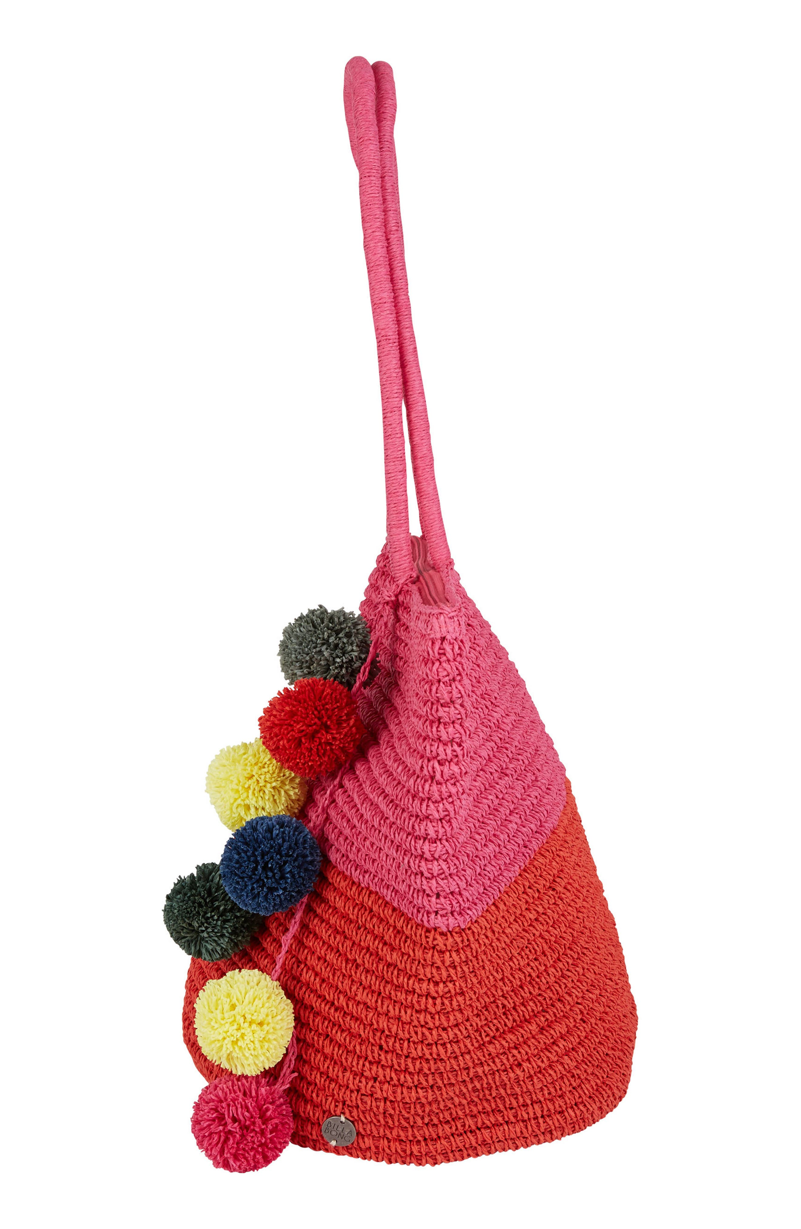 Heart N Soul Straw Tote,                             Alternate thumbnail 3, color,                             Guava