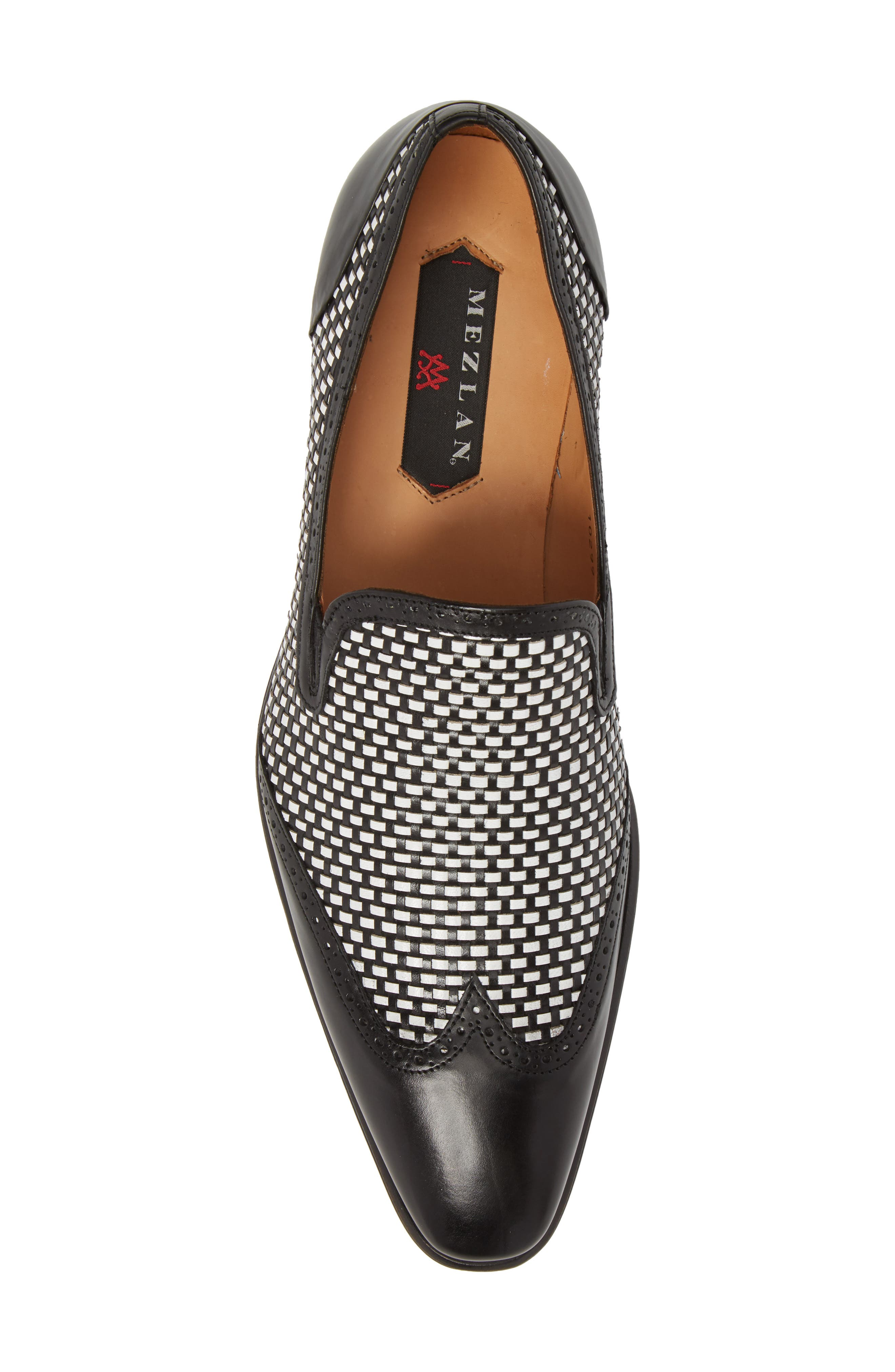 Nepos Woven Wingtip Loafer,                             Alternate thumbnail 5, color,                             Black/ White Leather