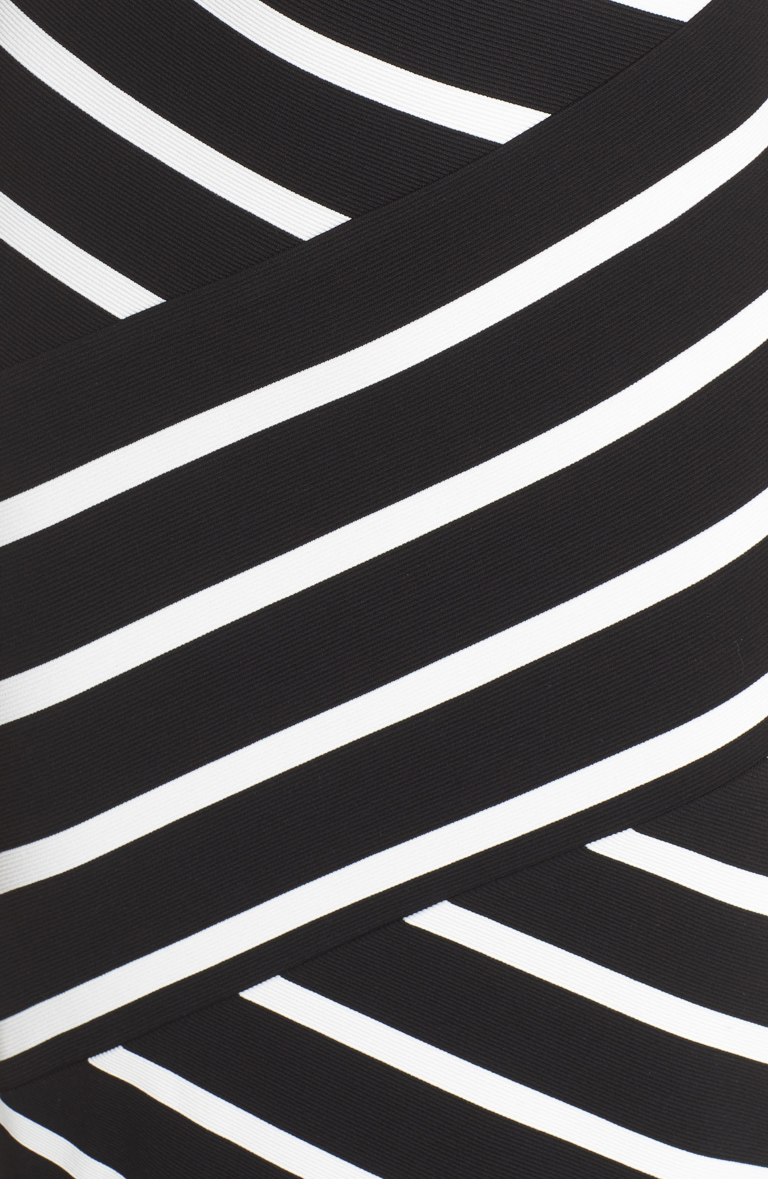 Stripe Ottoman Sheath Dress,                             Alternate thumbnail 6, color,                             Black/ Ivory