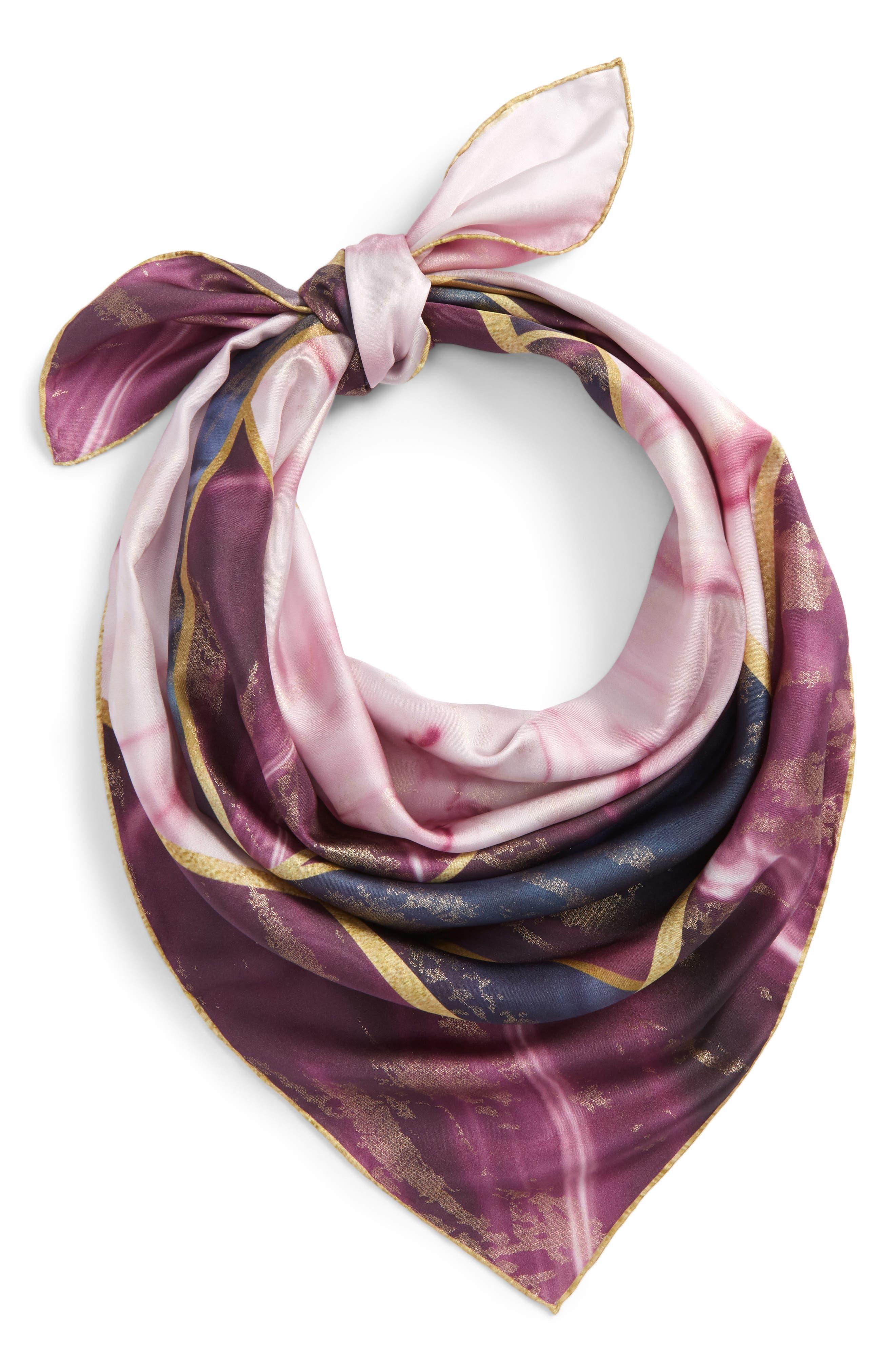 Balmoral Marble Square Silk Scarf,                             Main thumbnail 1, color,                             Deep Purple