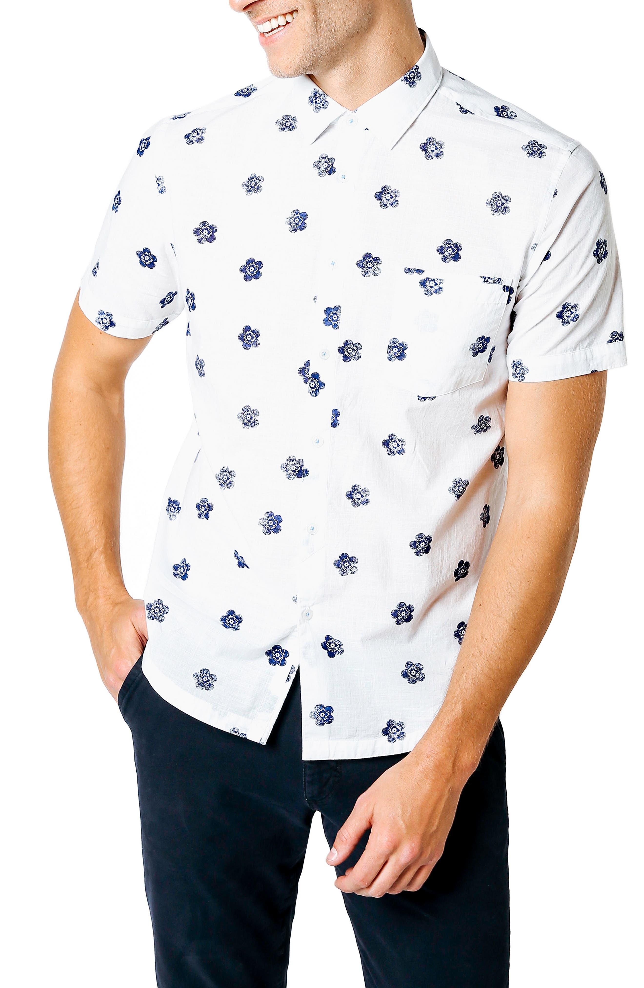 Trim Fit Tokyo Flower Sport Shirt,                         Main,                         color, Indigo