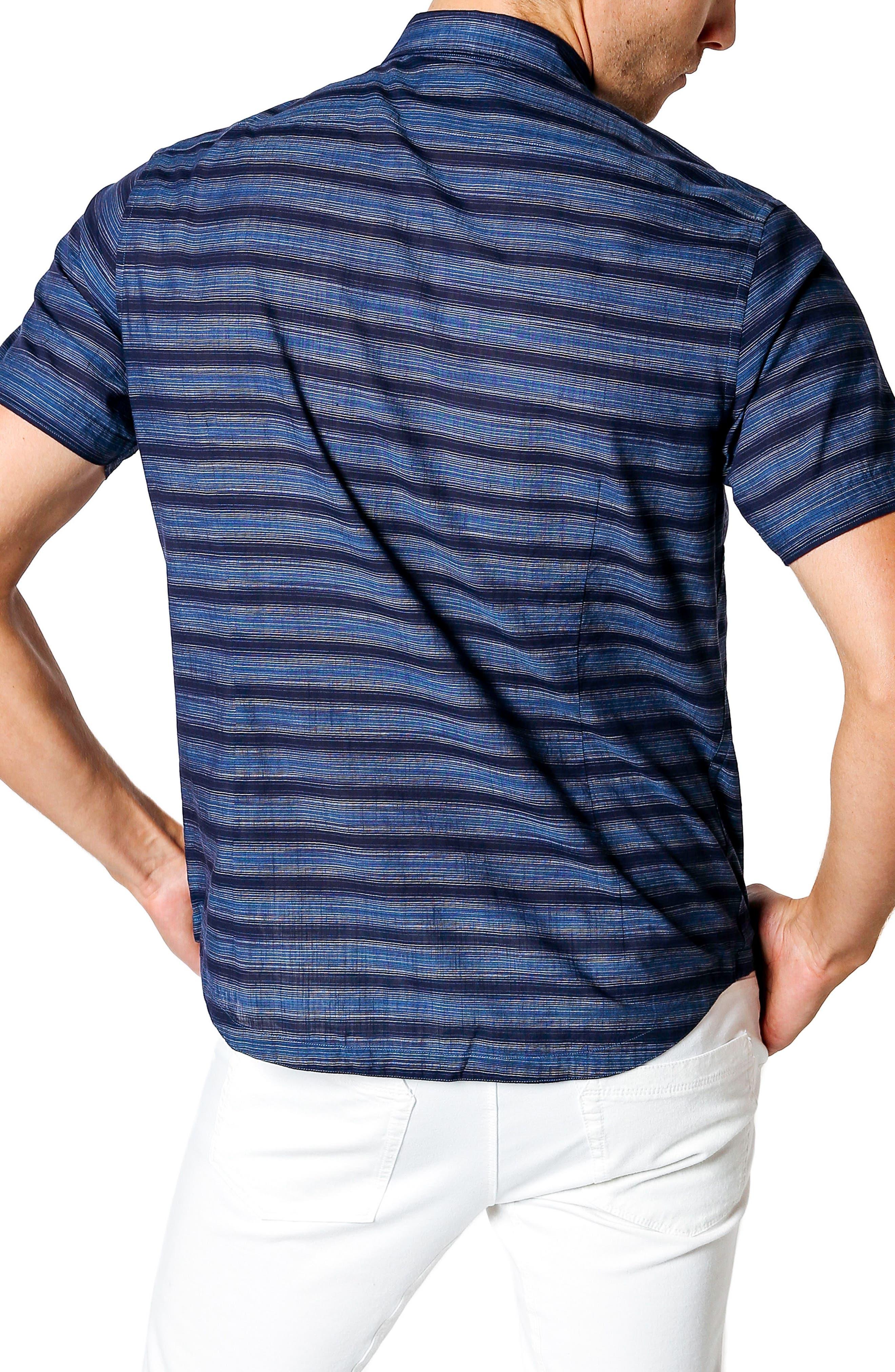 Slim Fit Short Sleeve Sport Shirt,                             Alternate thumbnail 3, color,                             Navy