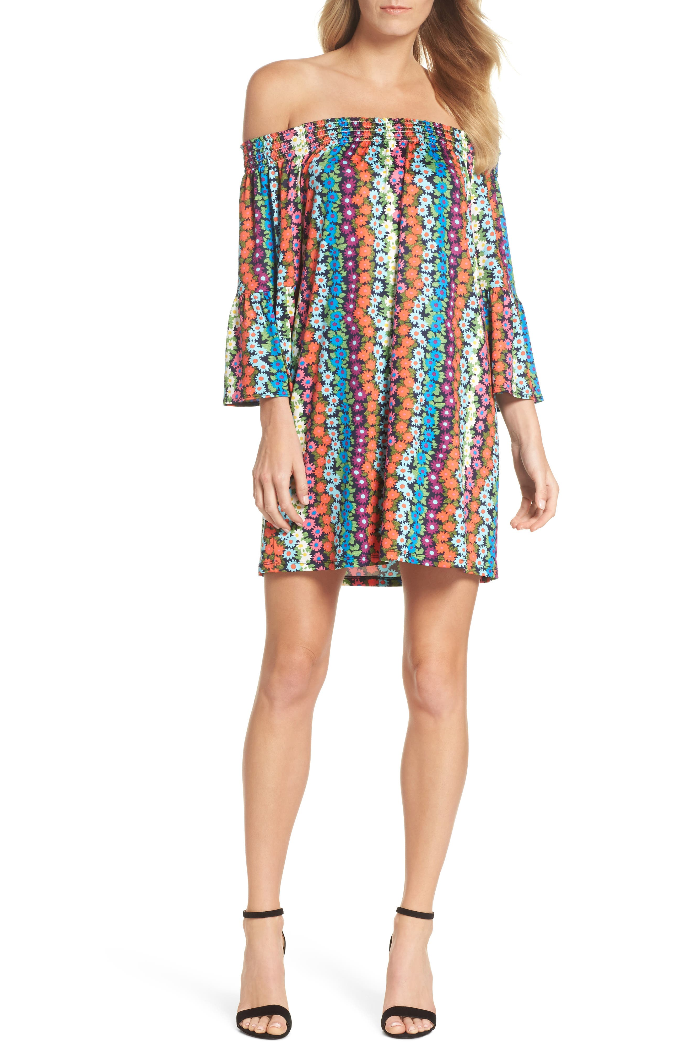 Trina Turk Off the Shoulder Bell Sleeve Dress,                             Main thumbnail 1, color,                             Multi
