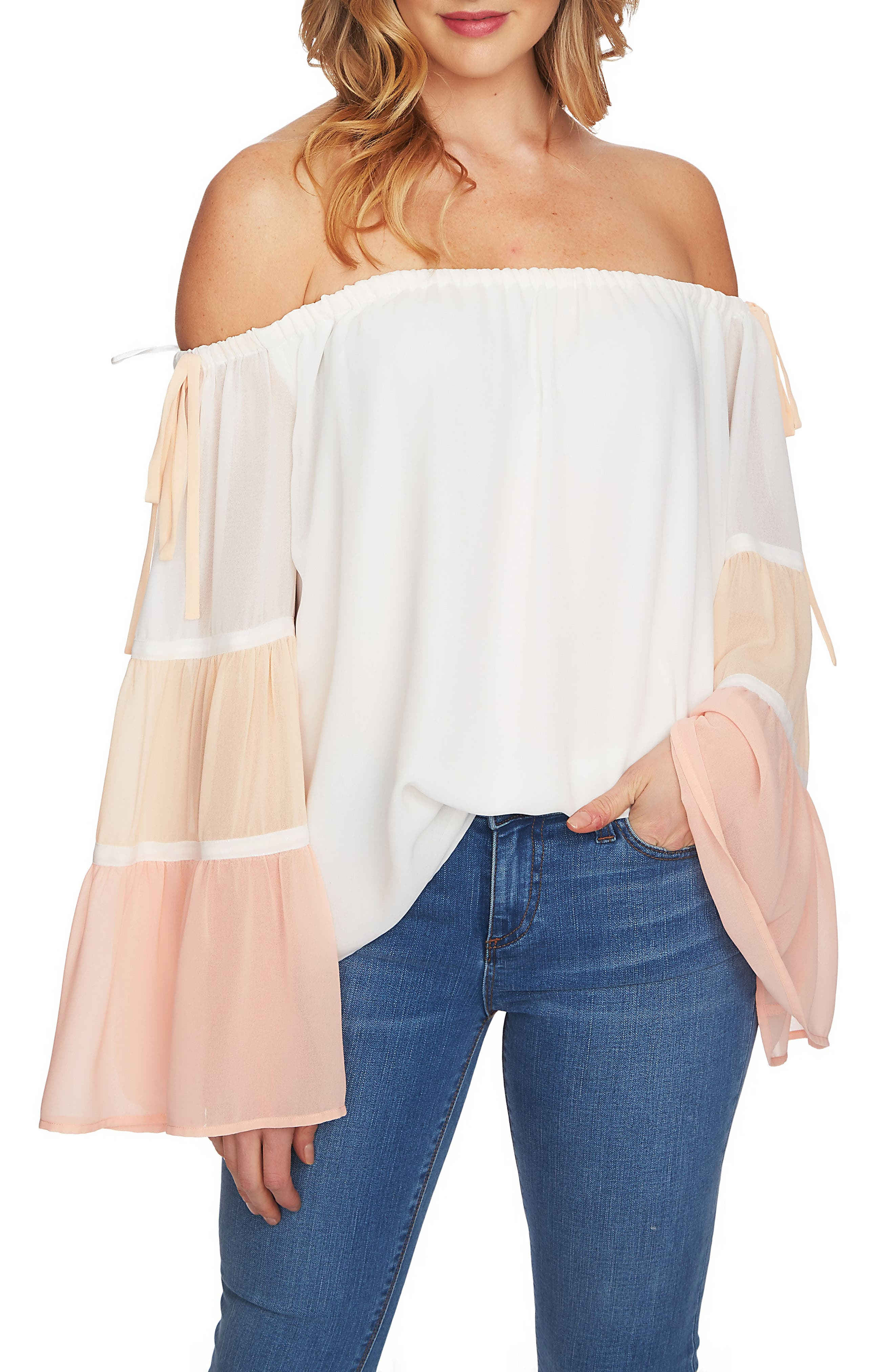 Tiered Off the Shoulder Top,                             Main thumbnail 1, color,                             Antique White