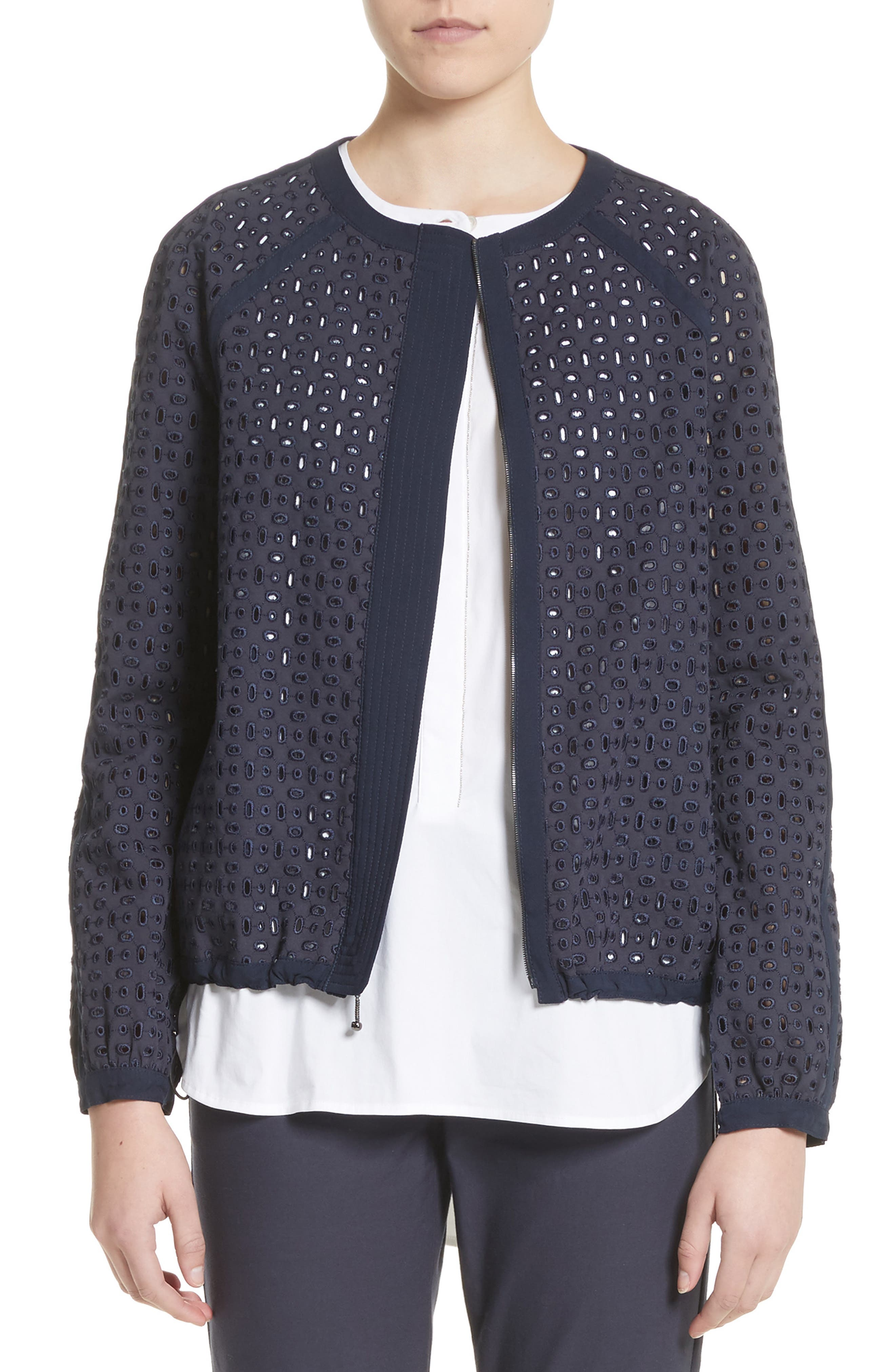 Stretch Cotton Eyelet Jacket,                         Main,                         color, Anthracite