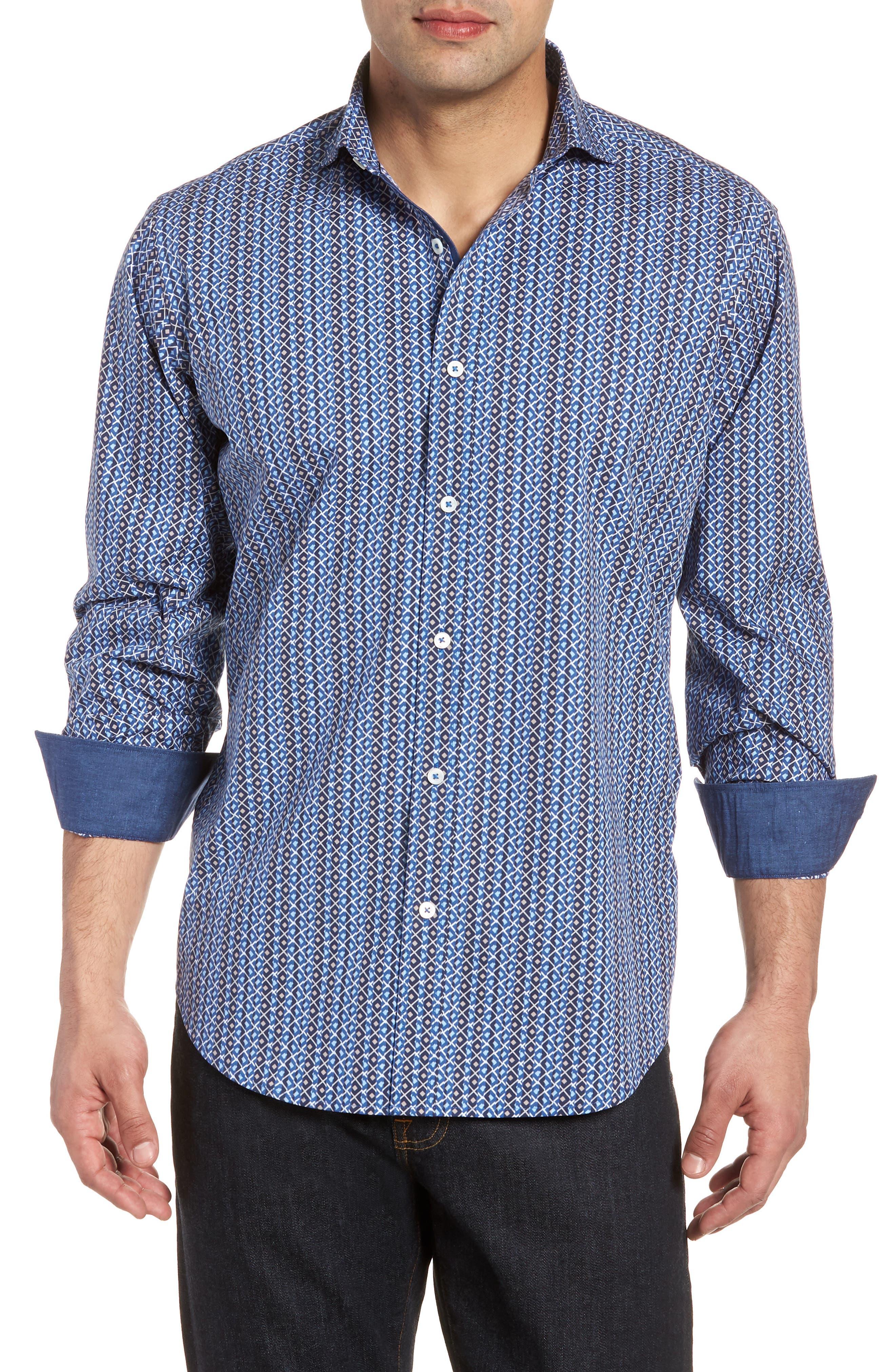 Classic Fit Print Sport Shirt,                         Main,                         color, Classic Blue