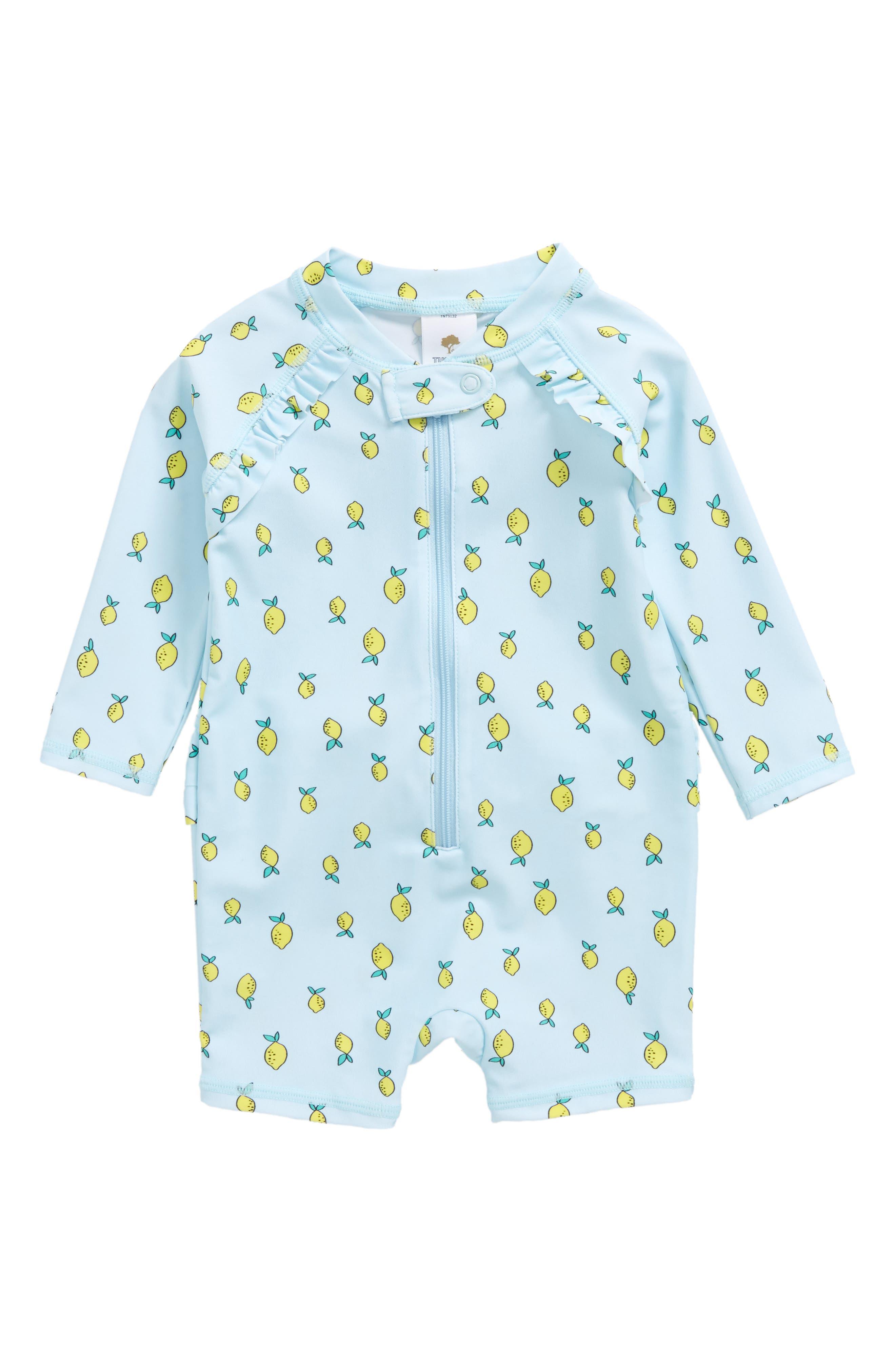 Lemon Print One-Piece Rashguard Swimsuit,                         Main,                         color, Blue Glow Lemons