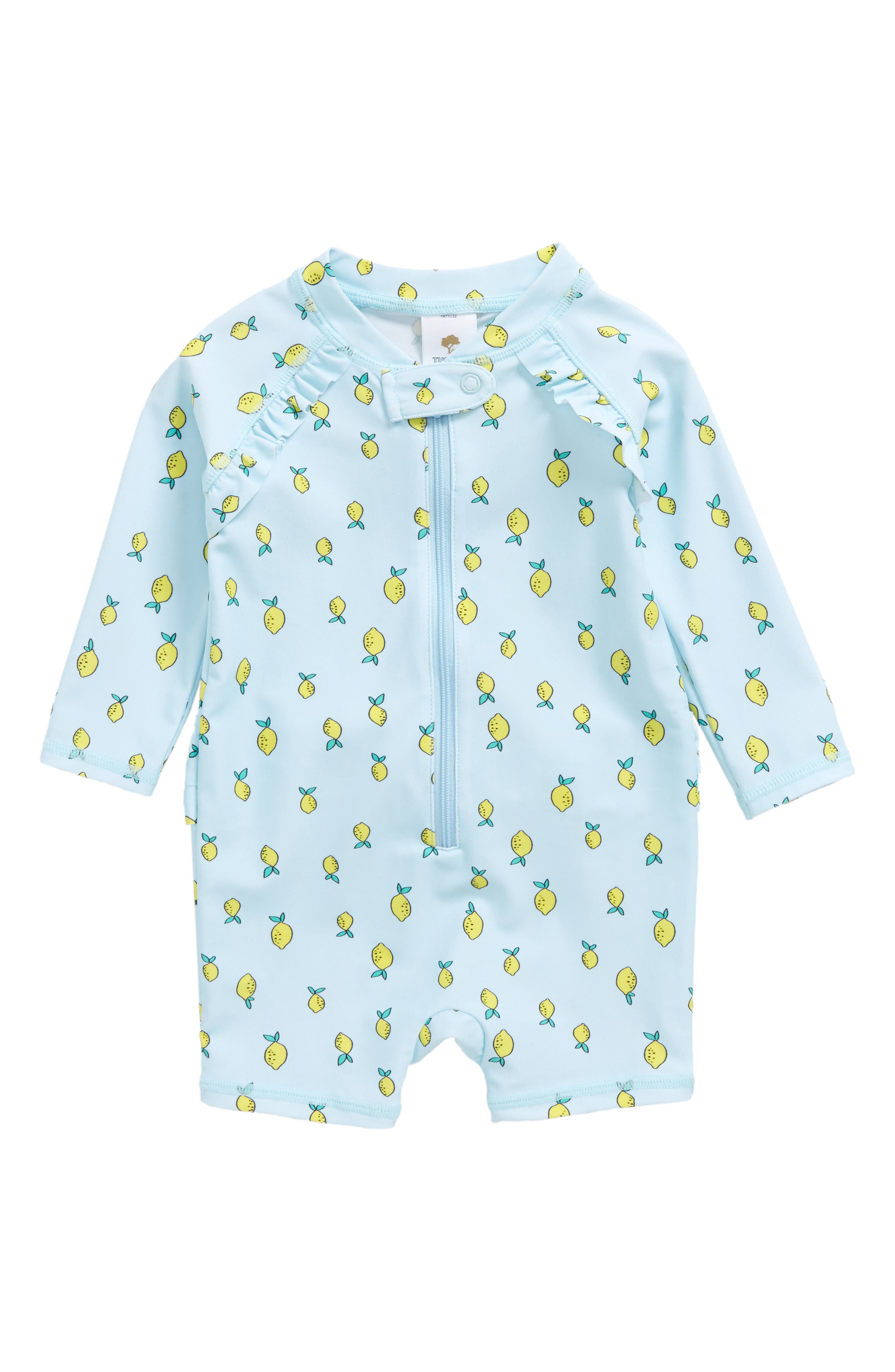 Tucker + Tate Lemon Print One-Piece Rashguard Swimsuit (Baby Girls)