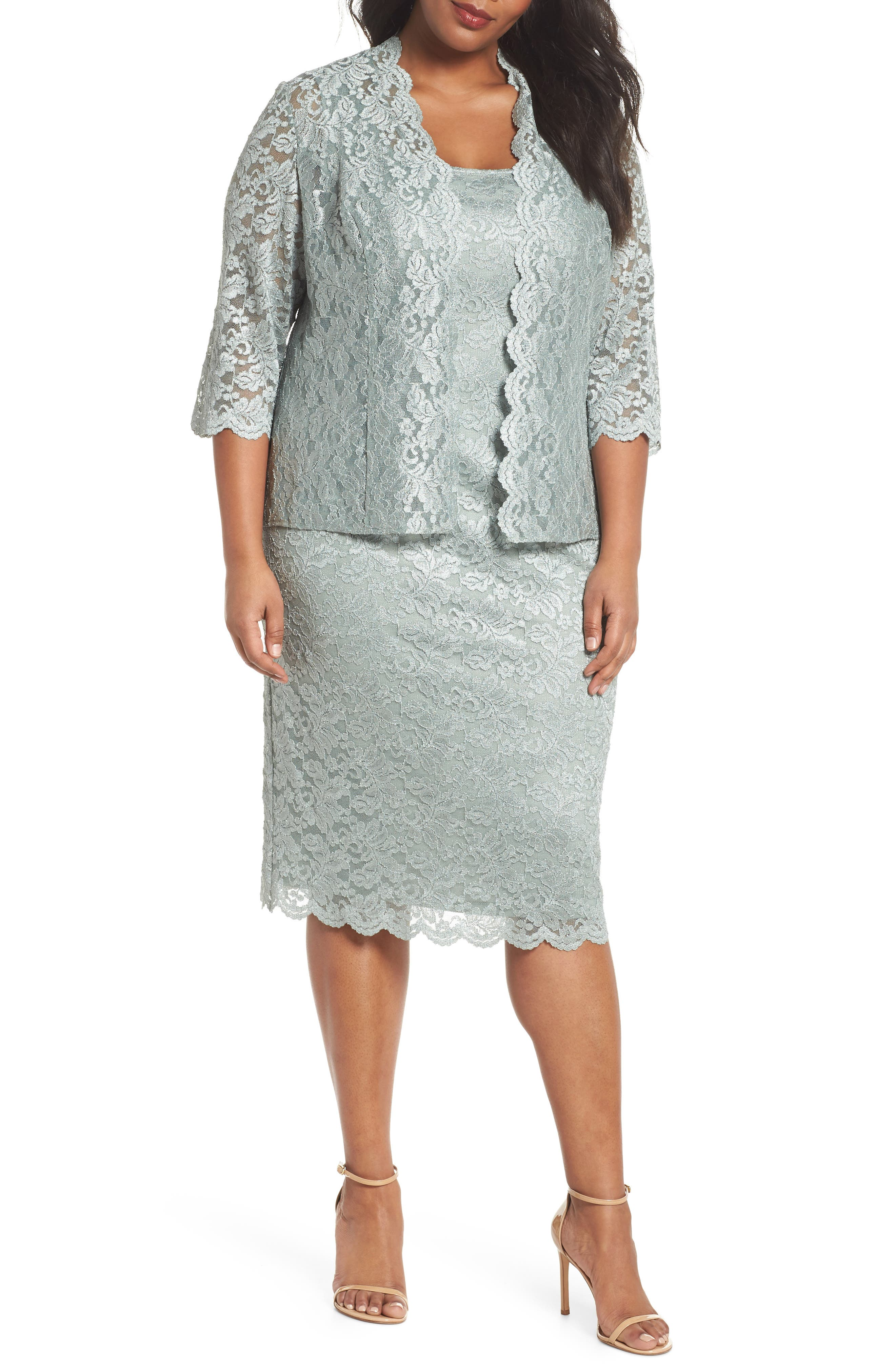 Lace Sheath Dress & Jacket,                             Main thumbnail 1, color,                             Ice Sage